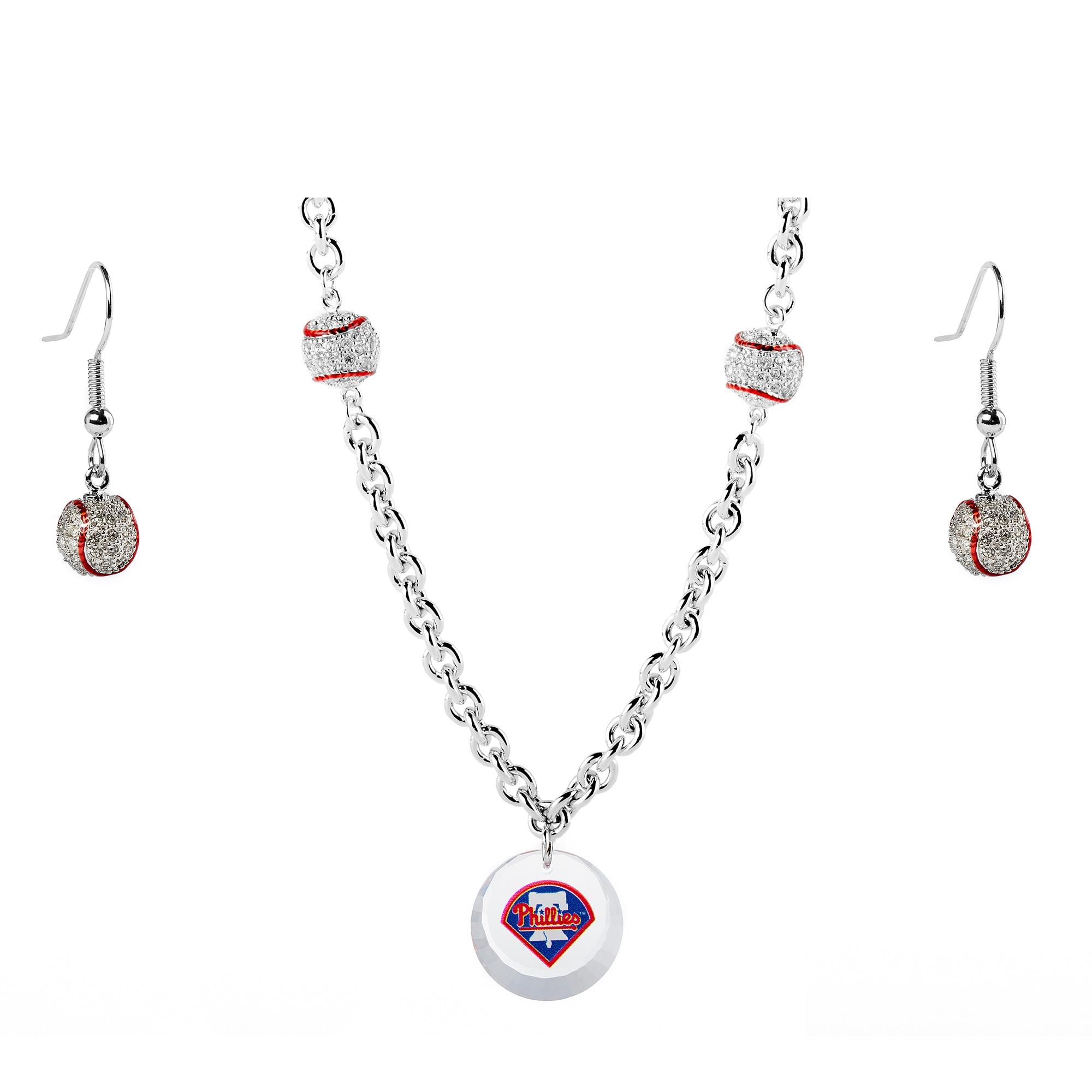 Philadelphia Phillies Crystals from Swarovski Baseball Necklace & Earrings