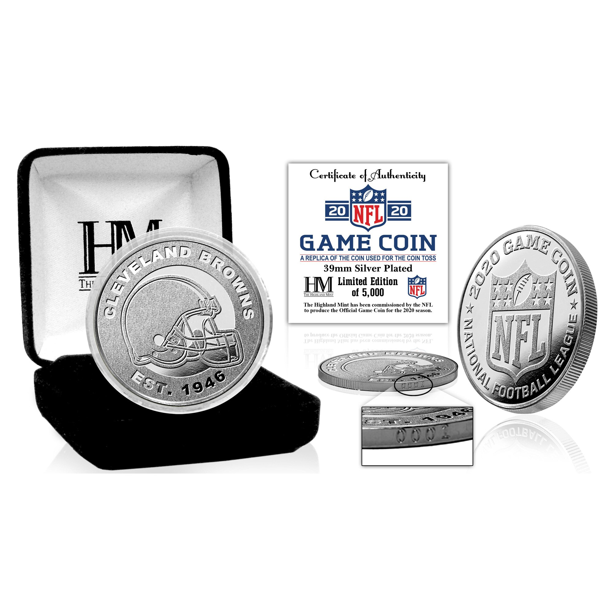 Cleveland Browns Highland Mint Silver Mint Game Flip Coin