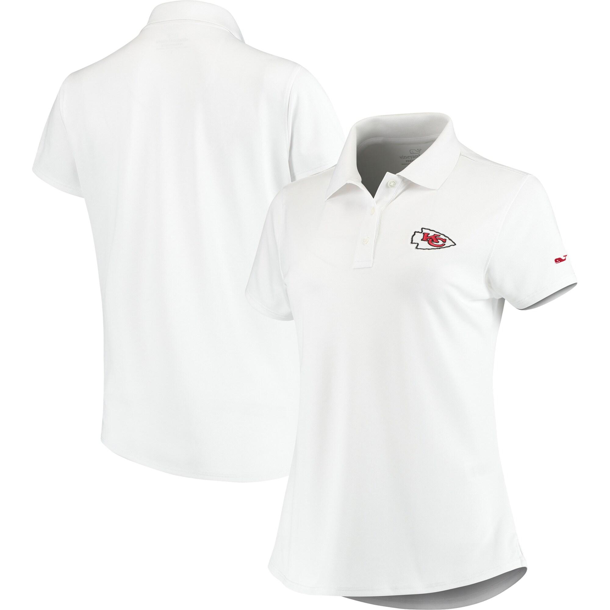 Kansas City Chiefs Vineyard Vines Women's Pique Sport Performance Polo - White