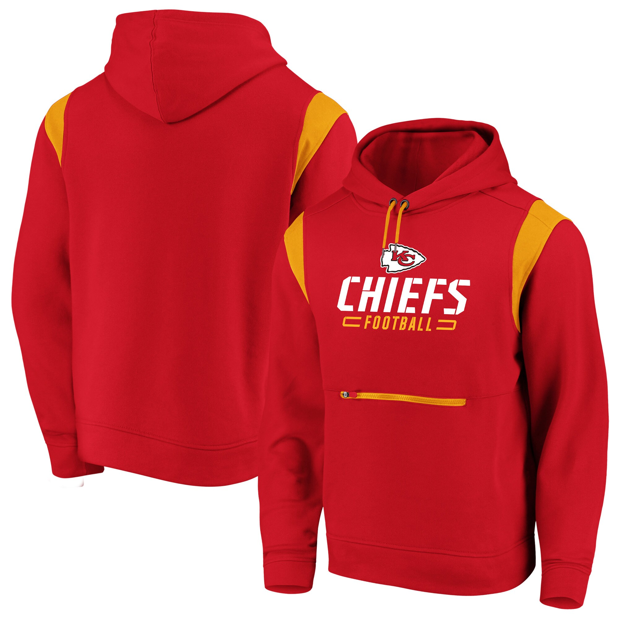 Kansas City Chiefs NFL Pro Line by Fanatics Branded Big & Tall Iconic Overdrive Pullover Hoodie - Red/Yellow