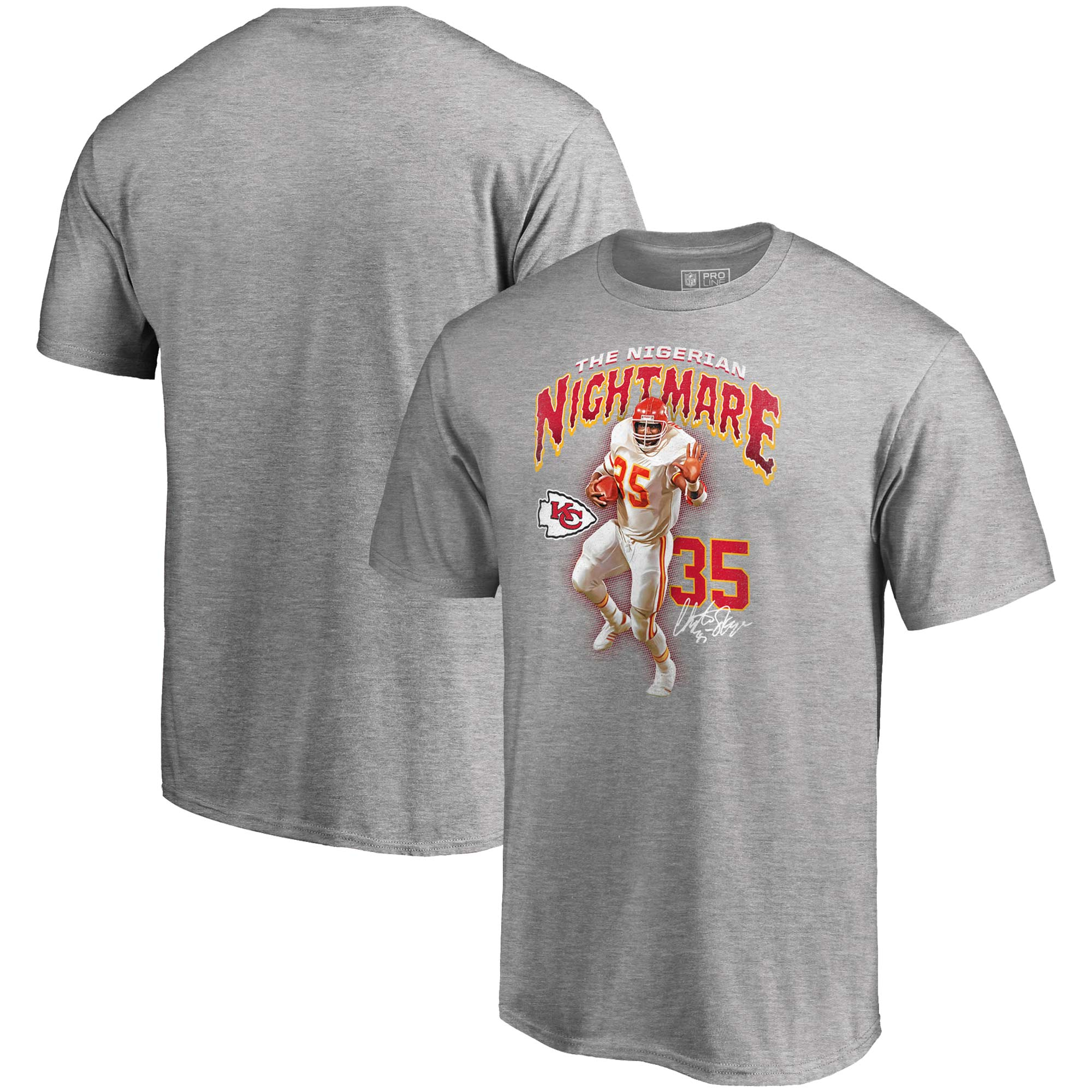 Christian Okoye Kansas City Chiefs NFL Pro Line by Fanatics Branded Nigerian Nightmare T-Shirt - Gray