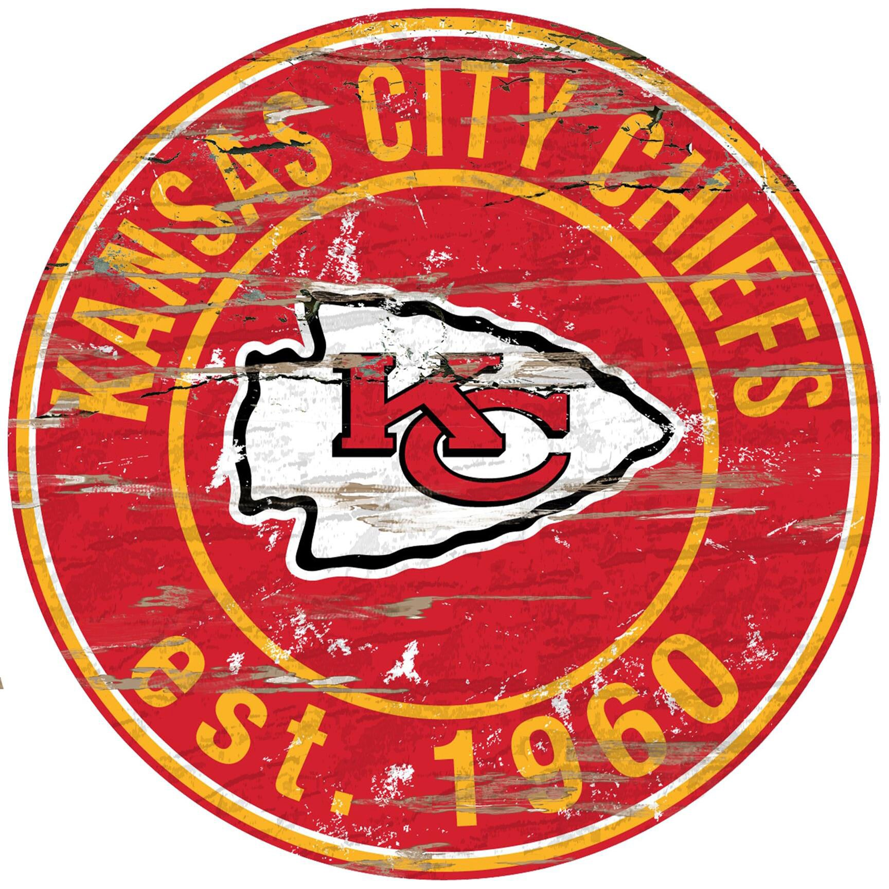 "Kansas City Chiefs 23.5"" Distressed Round Sign"