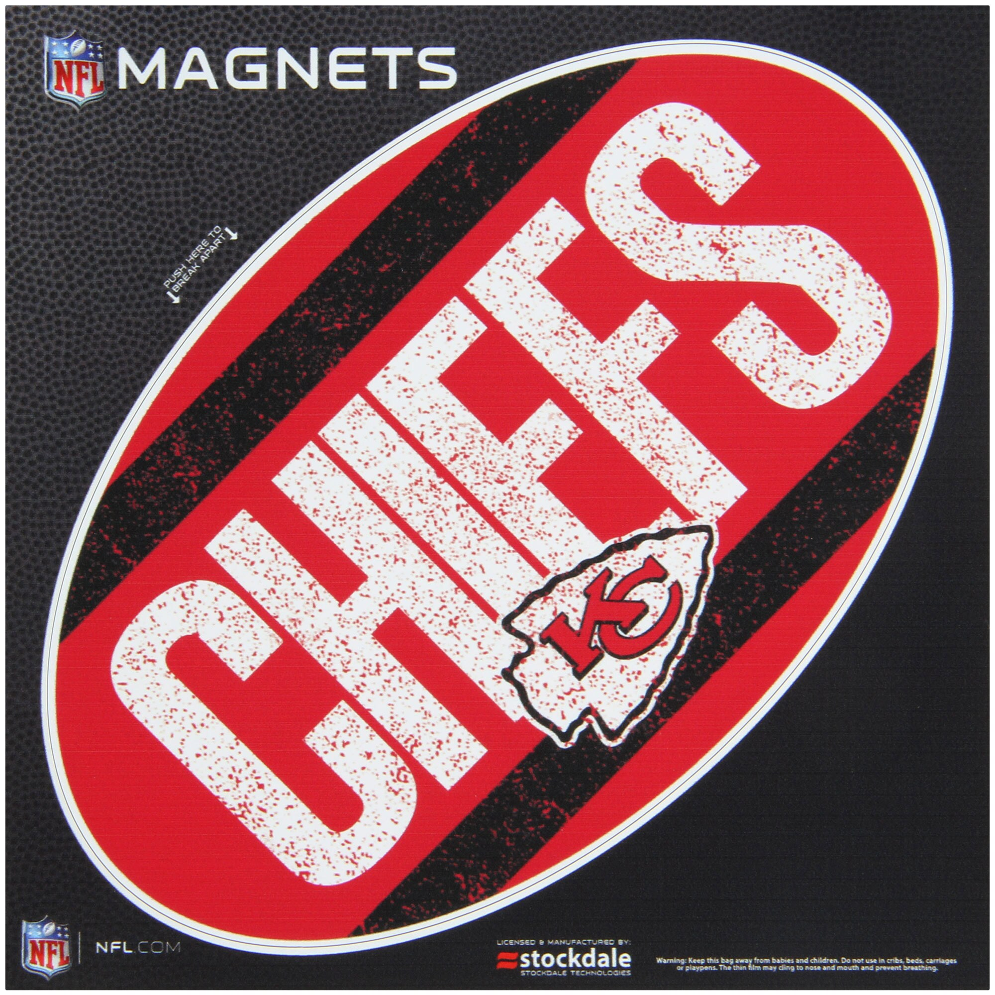 "Kansas City Chiefs Vintage 6"" x 6"" Oval Full Color Magnet"