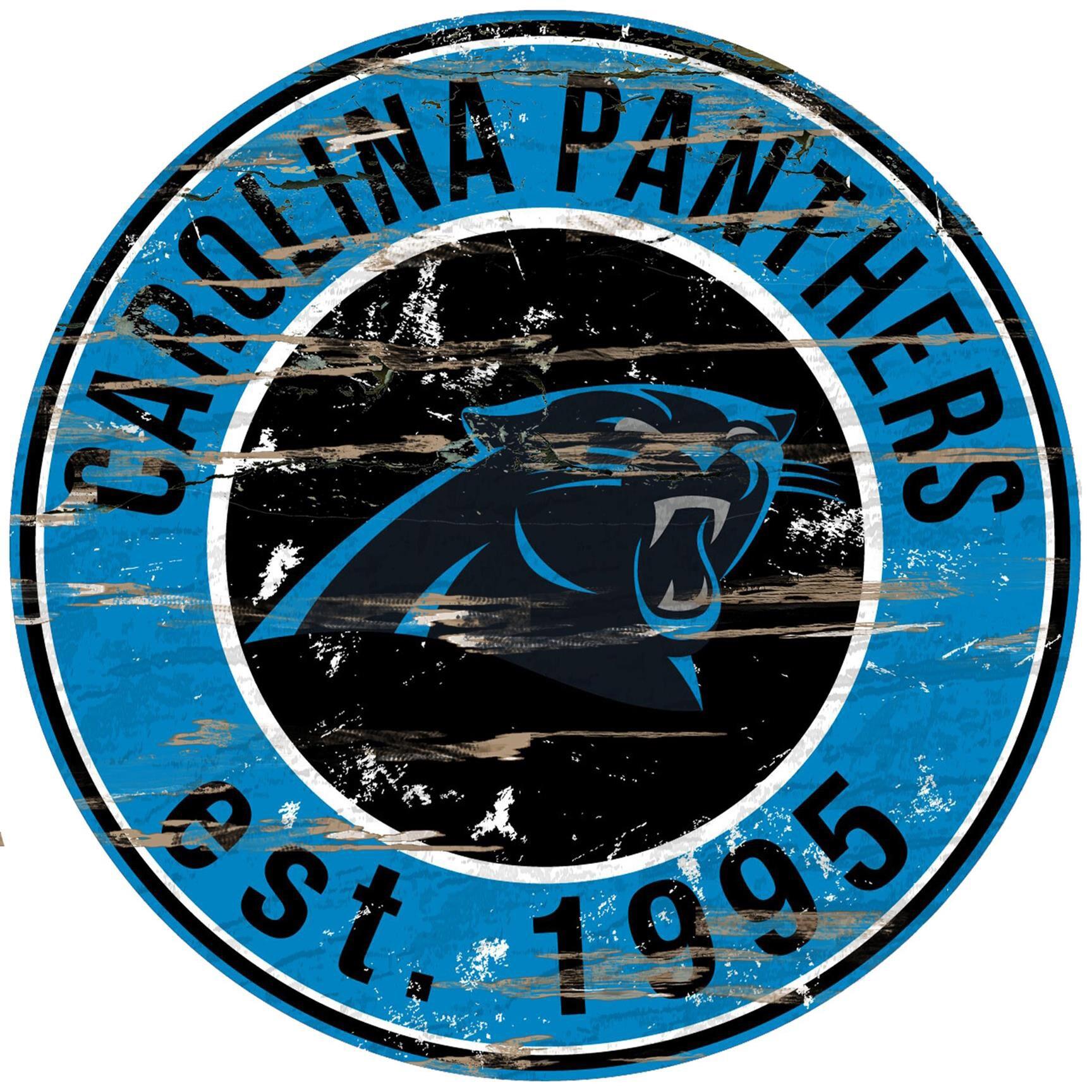 "Carolina Panthers 23.5"" Distressed Round Sign"