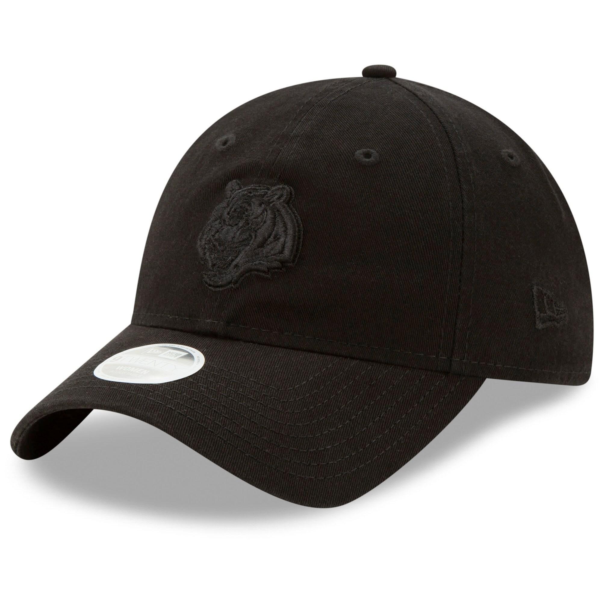 Cincinnati Bengals New Era Women's Core Classic Black on Black 9TWENTY Adjustable Hat - Black