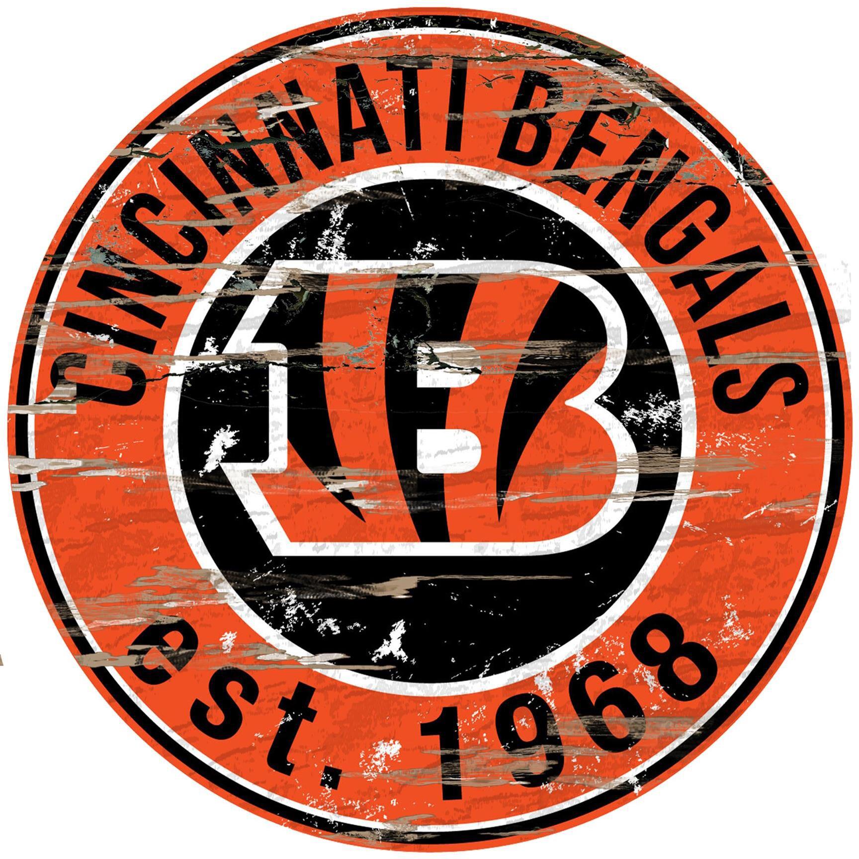 """Cincinnati Bengals 23.5"""" Distressed Round Sign"""
