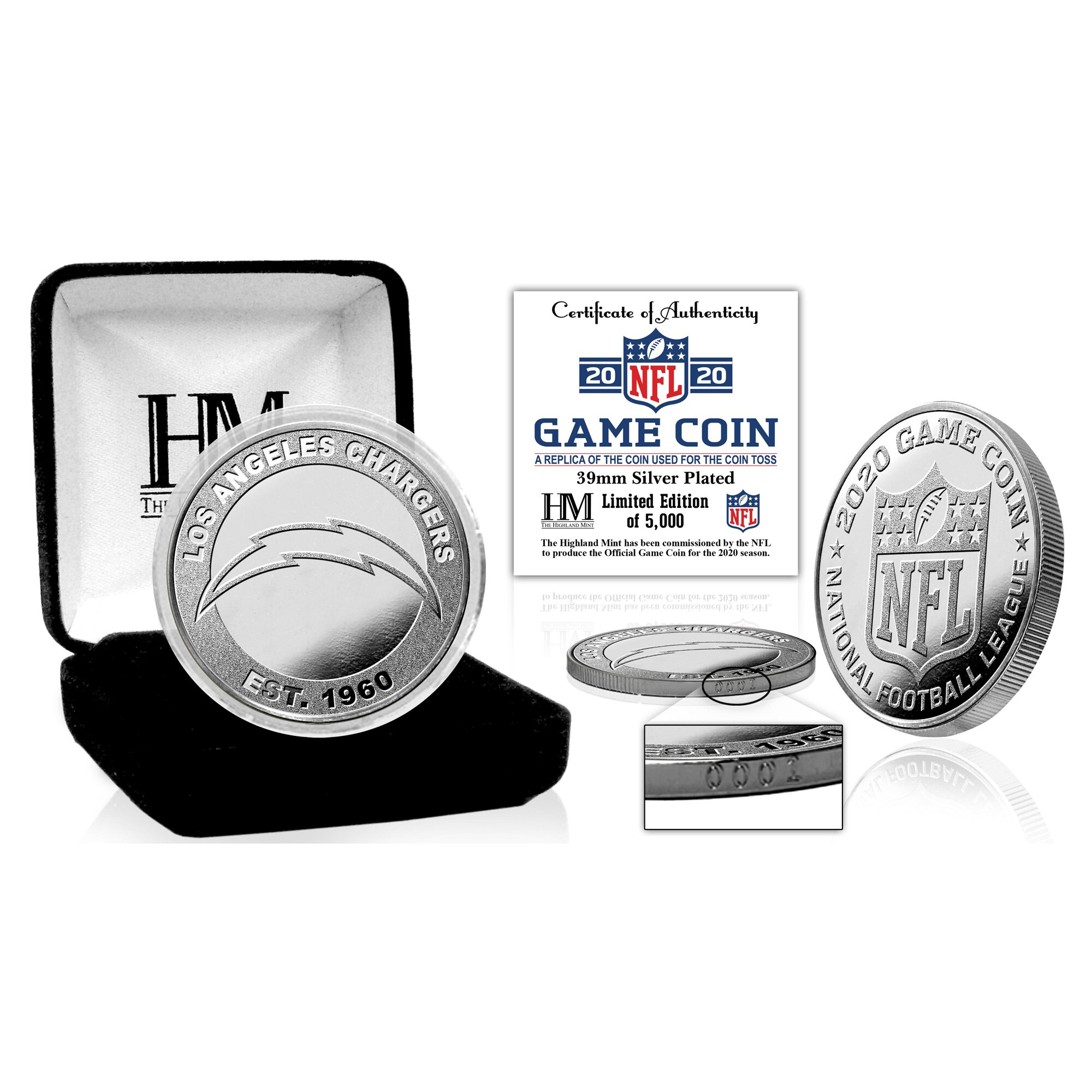 Los Angeles Chargers Highland Mint Silver Mint Game Flip Coin