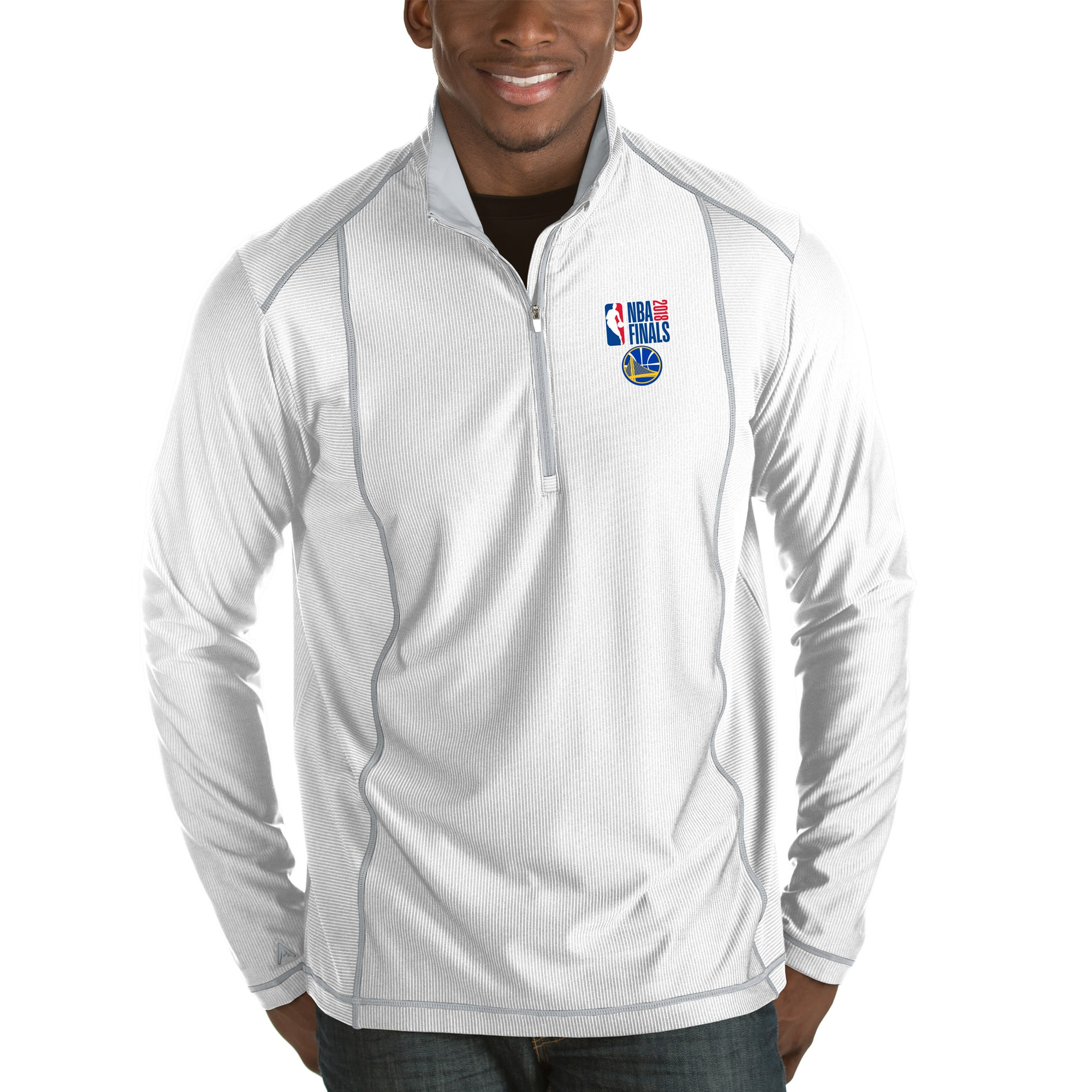 Golden State Warriors Antigua 2018 NBA Finals Bound Tempo Half-Zip Pullover Jacket - White
