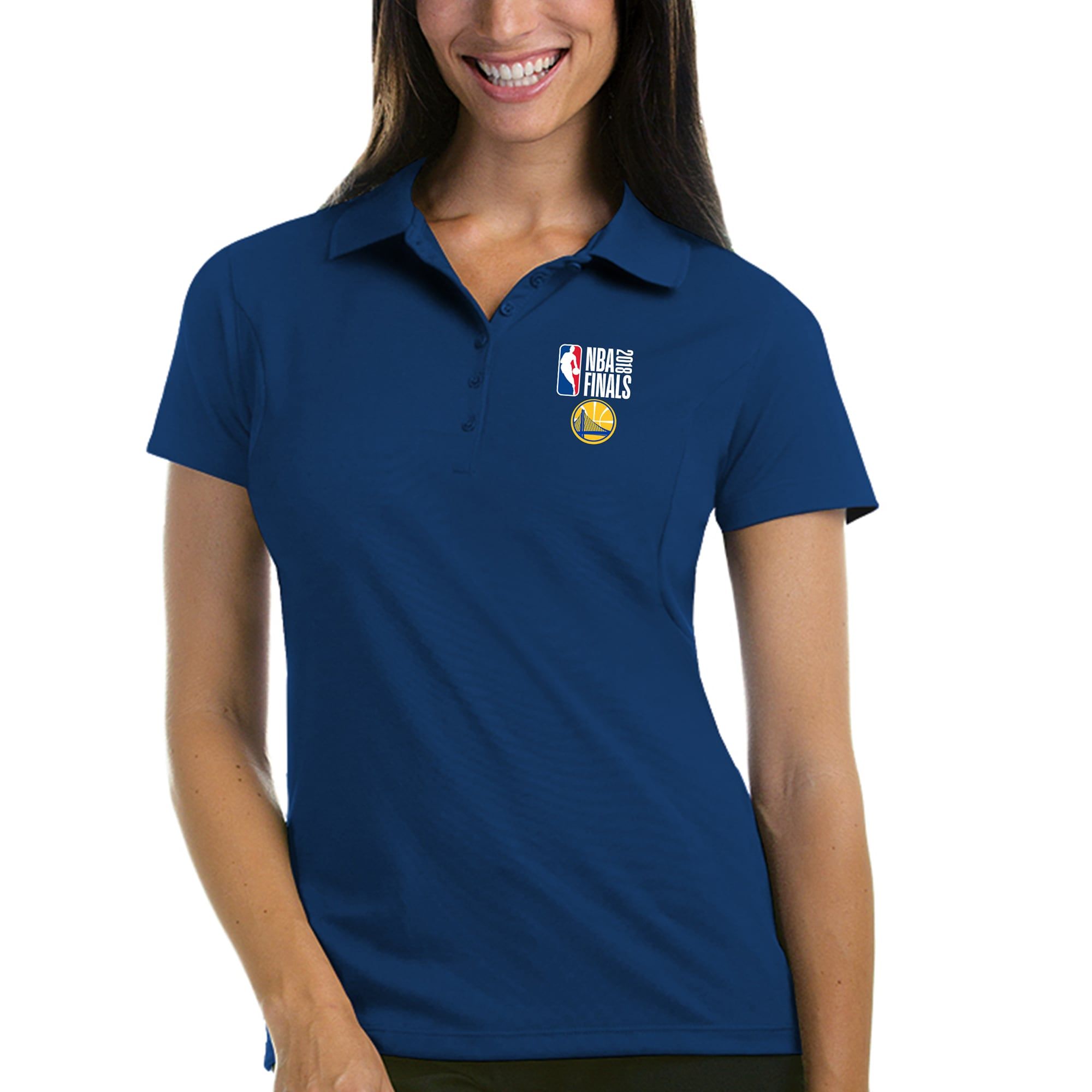 Golden State Warriors Antigua Women's 2018 NBA Finals Bound Pique Xtra-Lite Polo - Royal