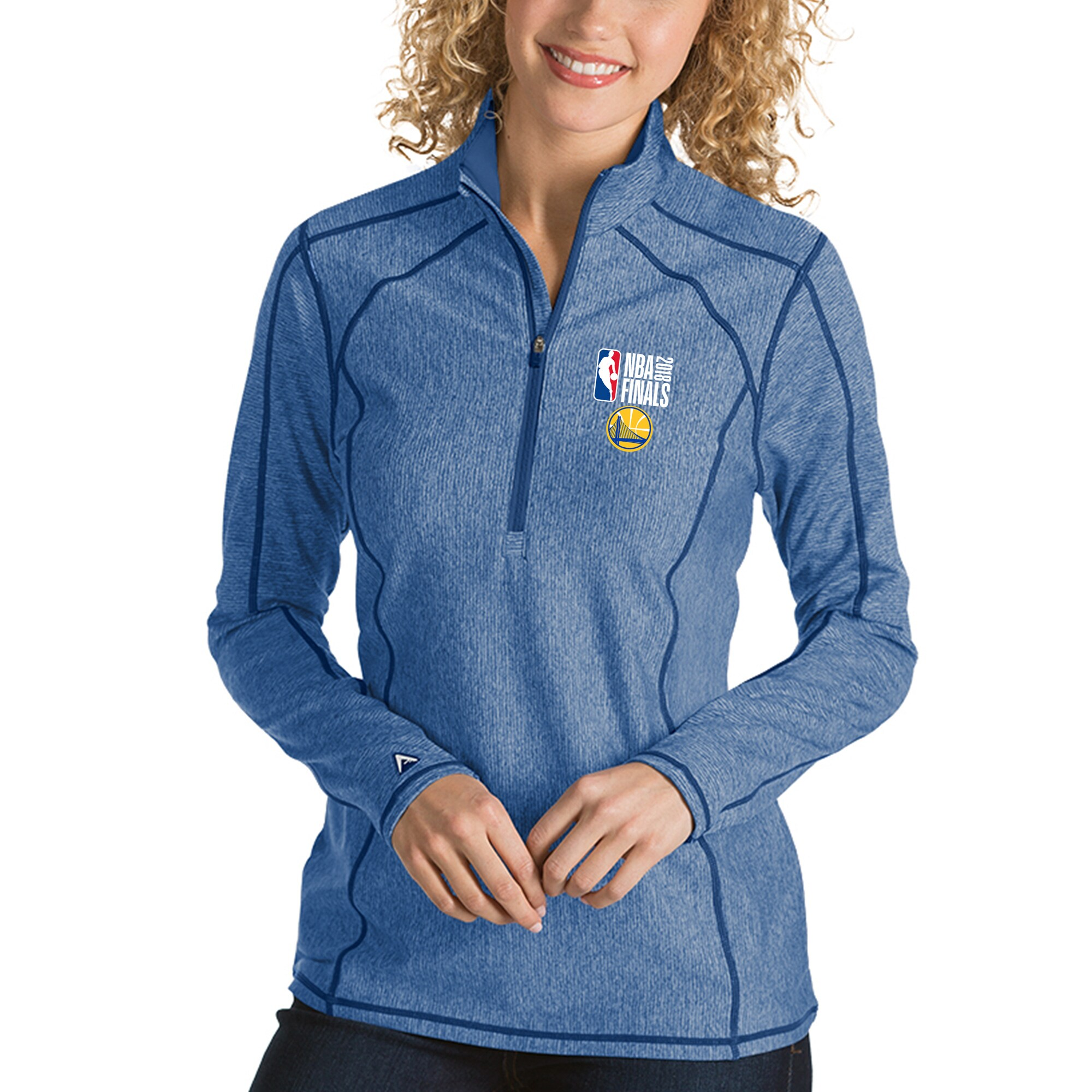 Golden State Warriors Antigua Women's 2018 NBA Finals Bound Tempo Quarter-Zip Pullover Jacket - Royal