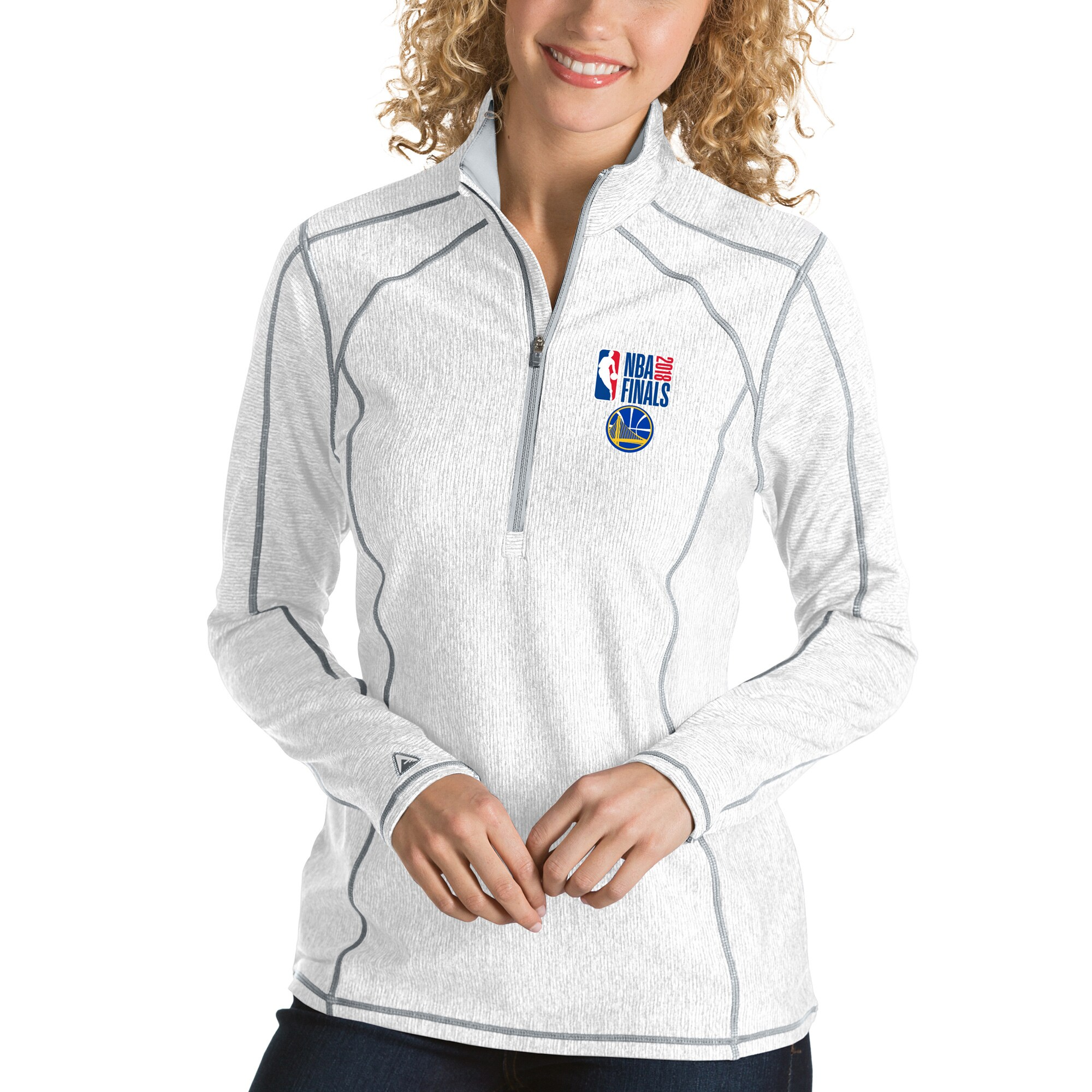 Golden State Warriors Antigua Women's 2018 NBA Finals Bound Tempo Quarter-Zip Pullover Jacket - White