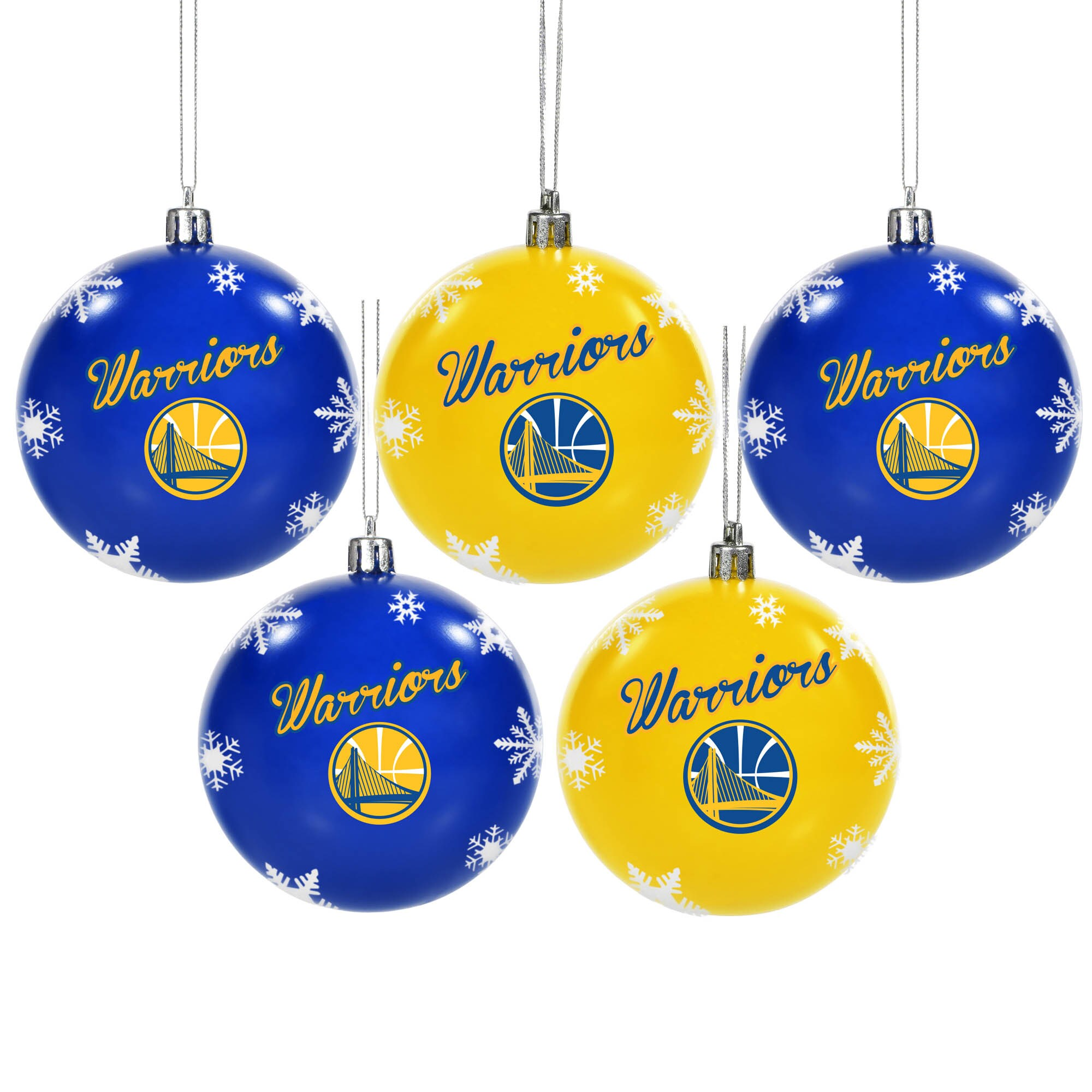 Golden State Warriors 5-Pack Set of Shatterproof Ball Ornaments