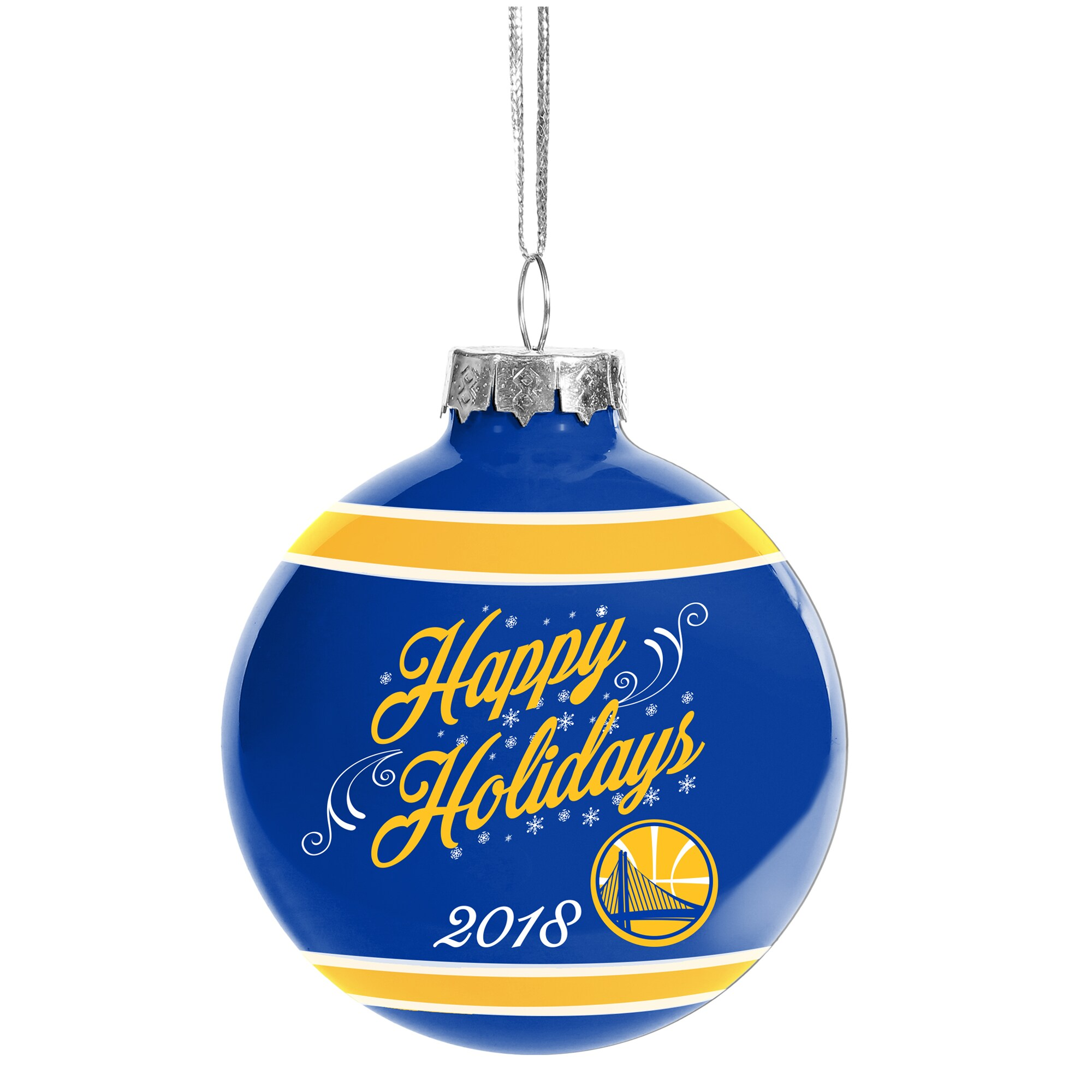 Golden State Warriors 2018 Happy Holidays Glass Ball Ornament