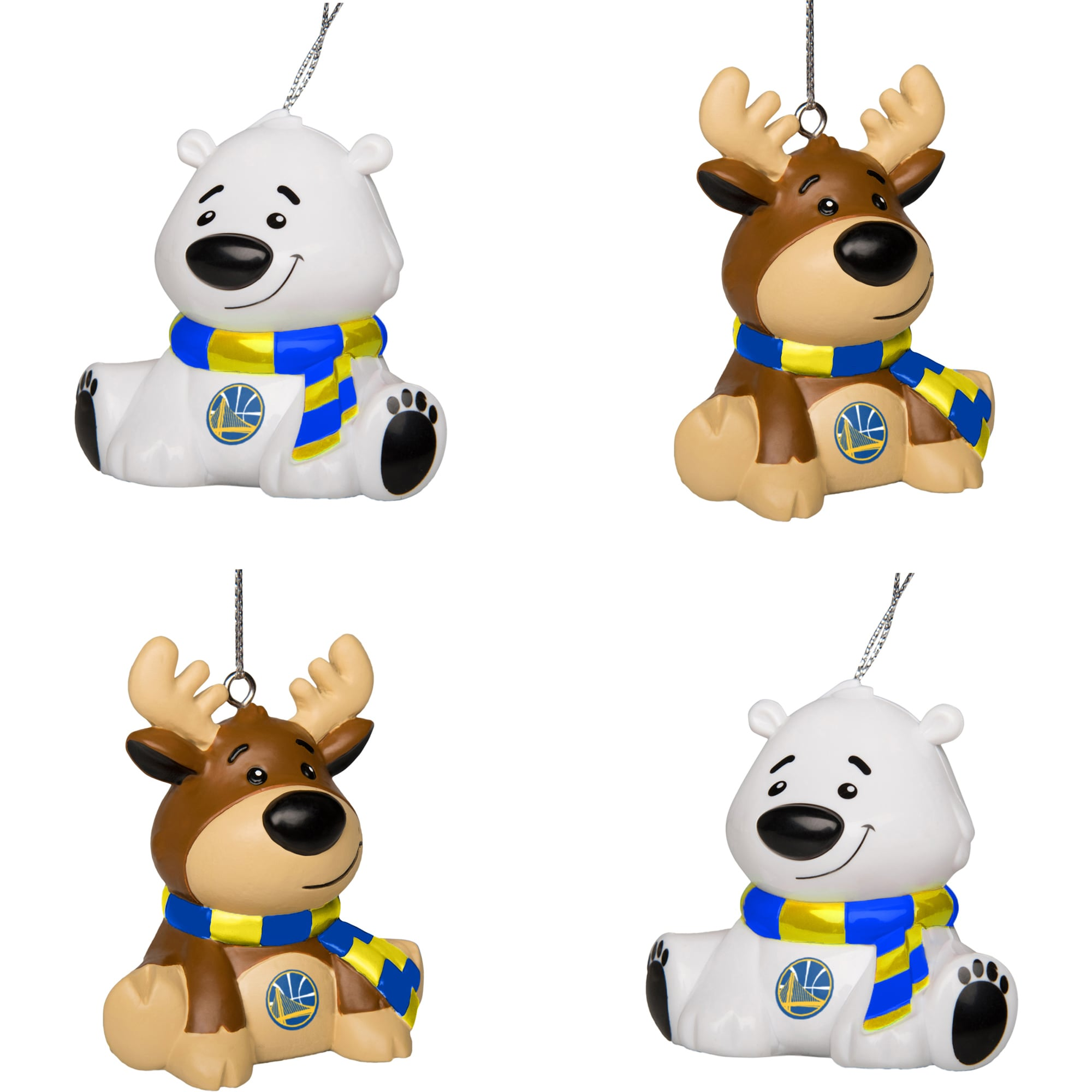 Golden State Warriors Reindeer & Bear Ornament 4-Pack Set