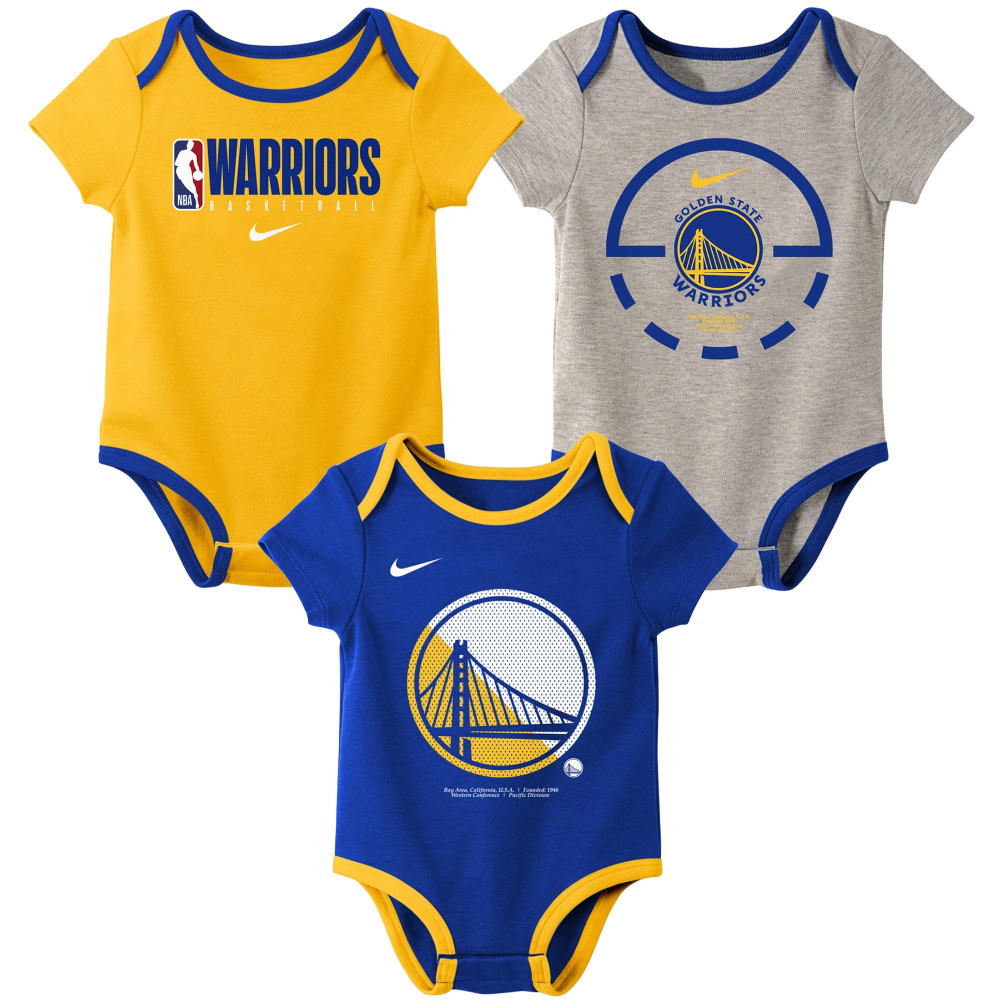 Golden State Warriors Nike Infant Element Practice Three-Pack Bodysuit Set - Royal/Gold/Gray