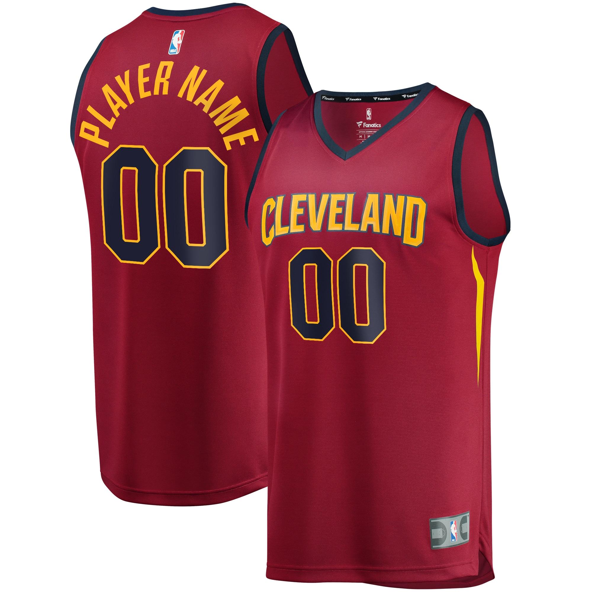 Cleveland Cavaliers Fanatics Branded Fast Break Custom Replica Jersey Wine - Icon Edition