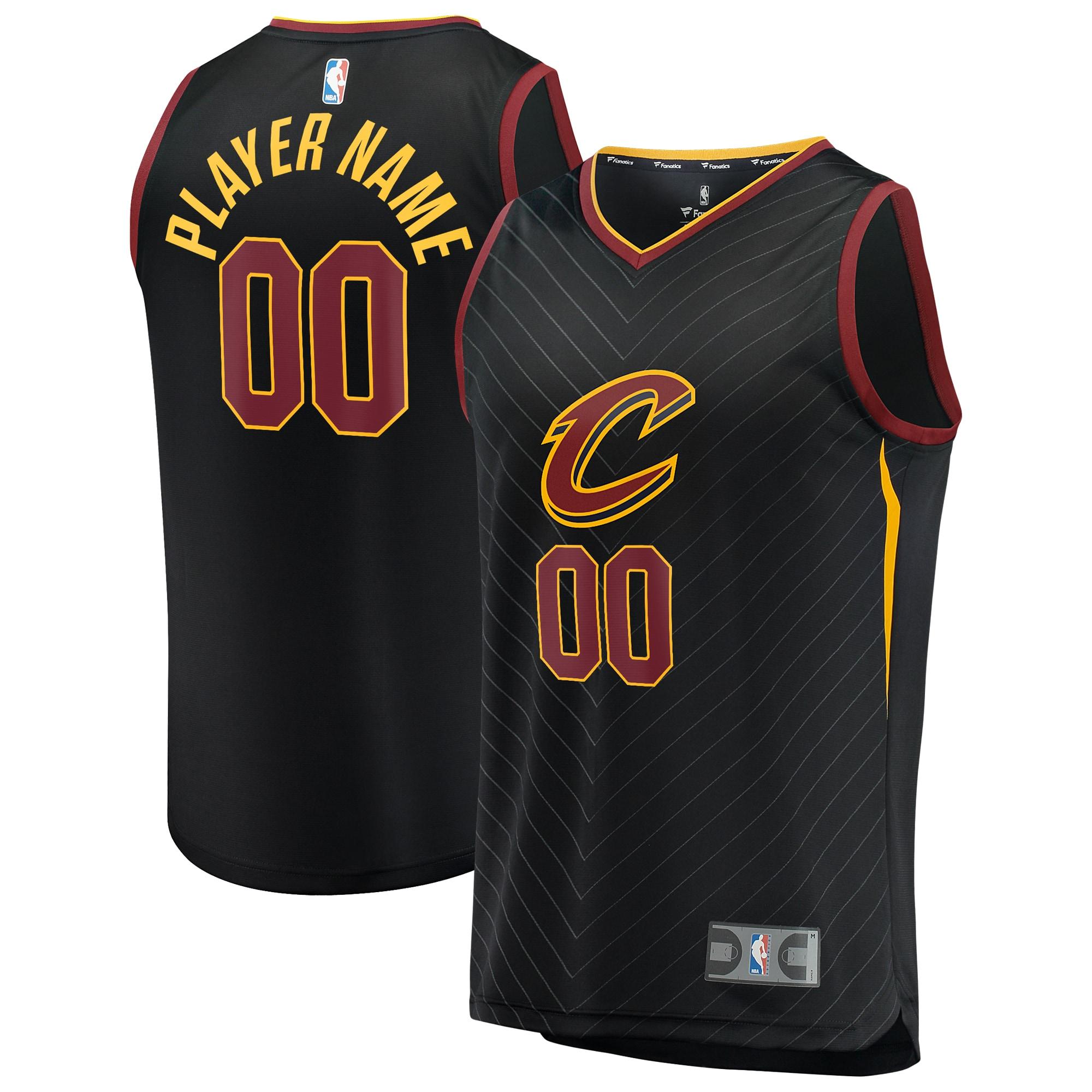 Cleveland Cavaliers Fanatics Branded Fast Break Custom Replica Jersey Black - Statement Edition