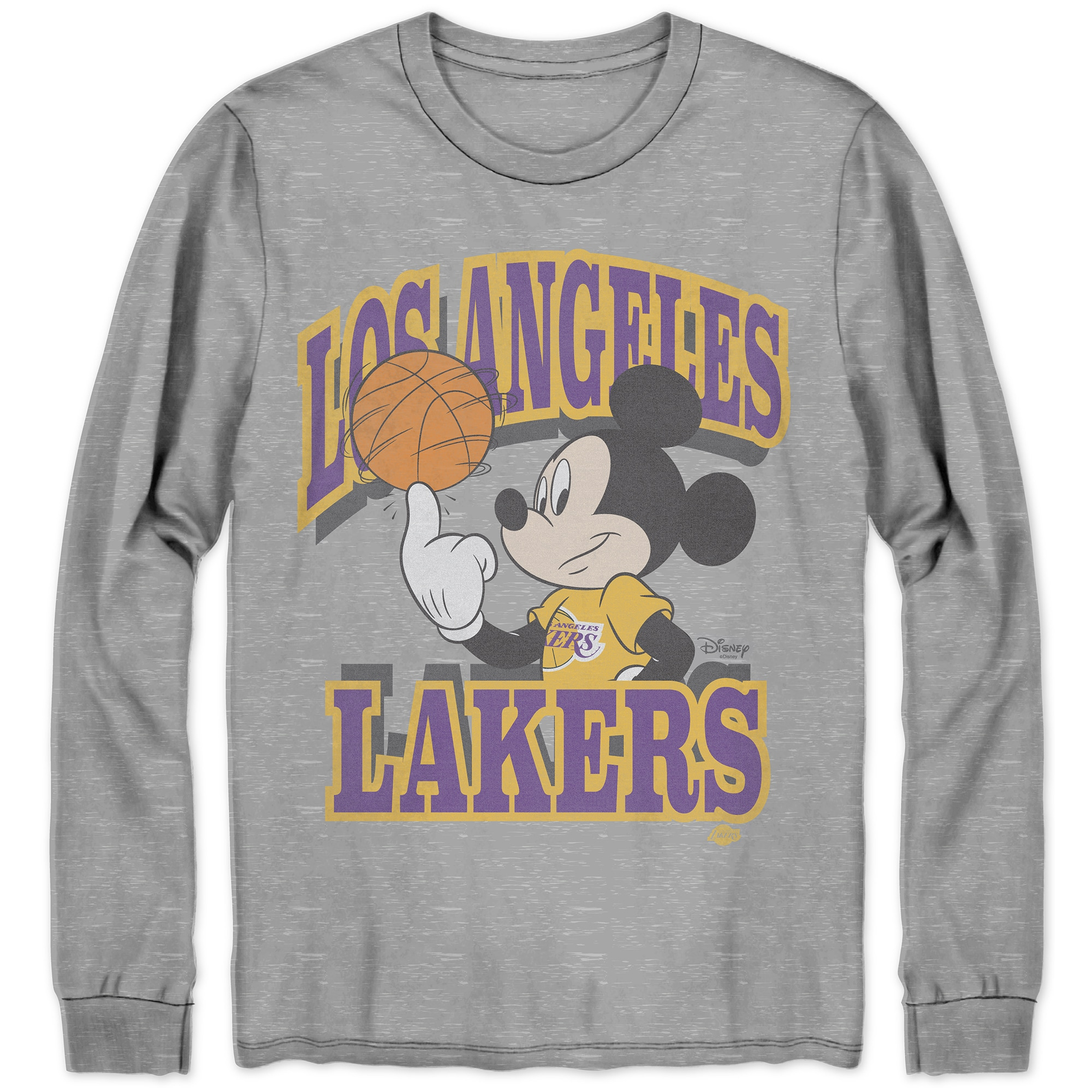 Los Angeles Lakers Junk Food Disney Mickey Team Spirit Long Sleeve T-Shirt - Gray