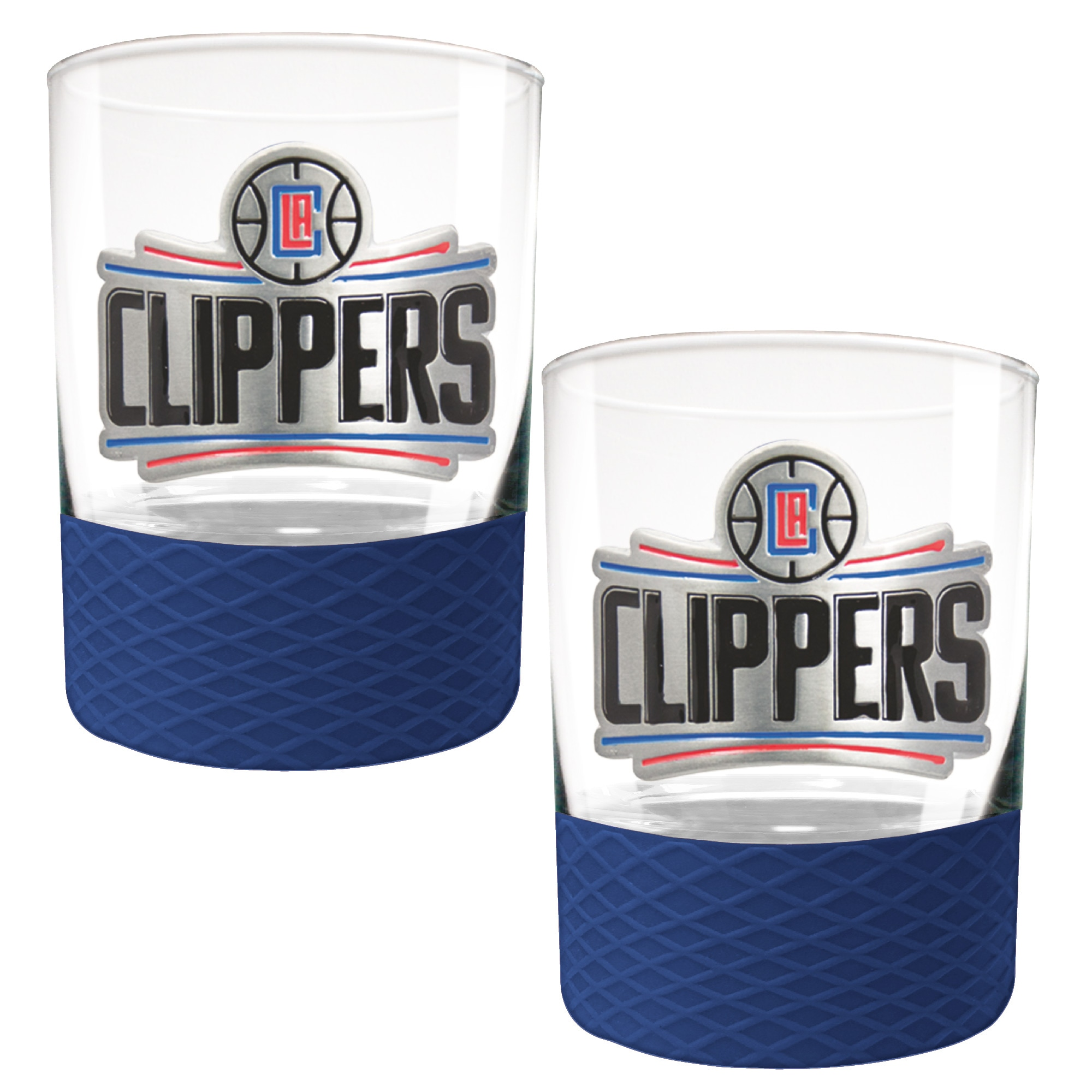 LA Clippers 2-Pack 14oz. Rocks Glass Set with Silcone Grip