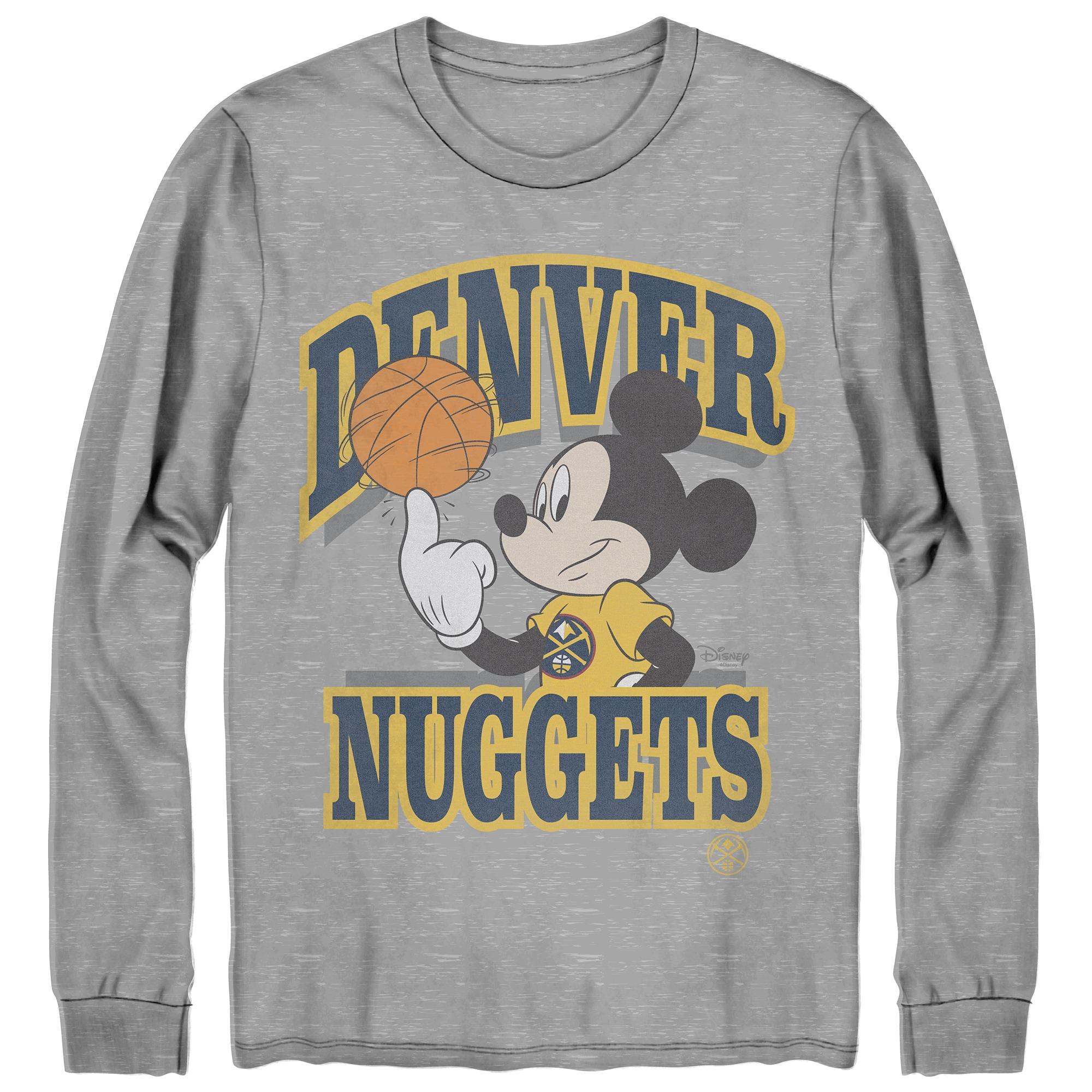 Denver Nuggets Junk Food Disney Mickey Team Spirit Long Sleeve T-Shirt - Gray