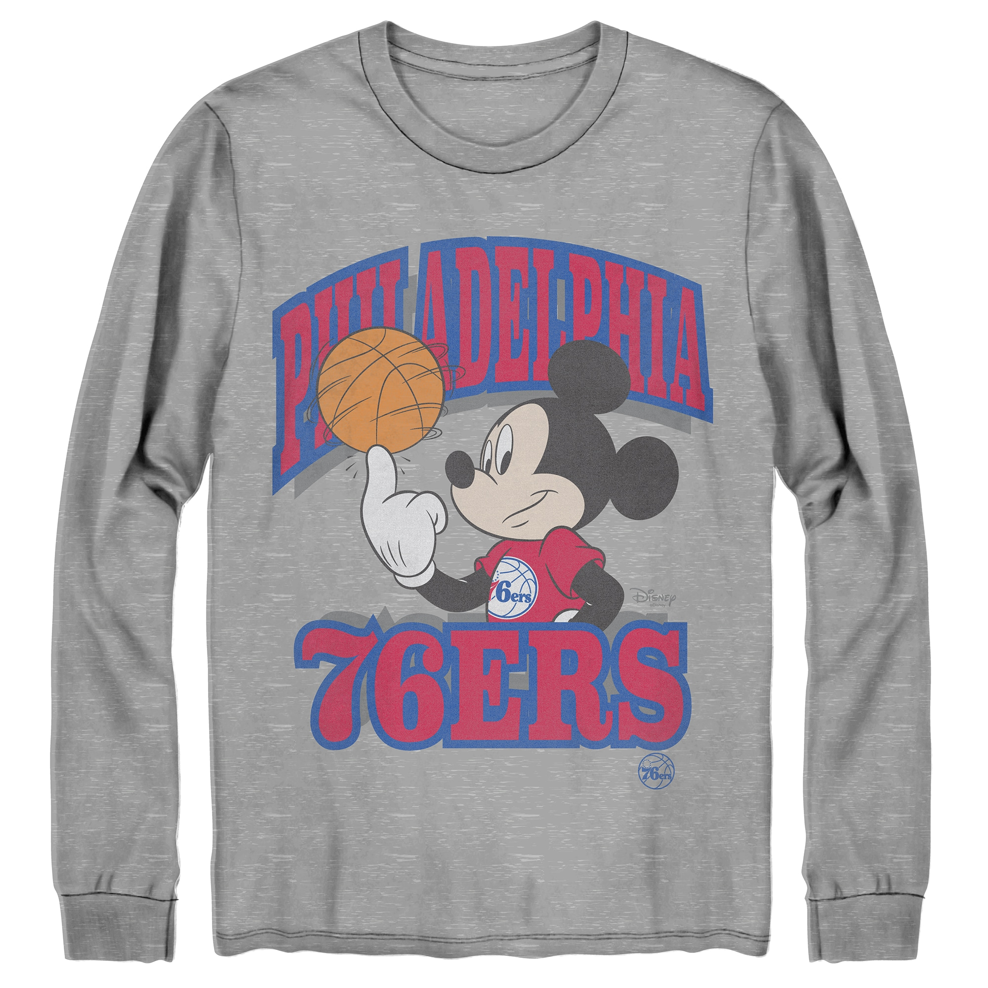 Philadelphia 76ers Junk Food Disney Mickey Team Spirit Long Sleeve T-Shirt - Gray