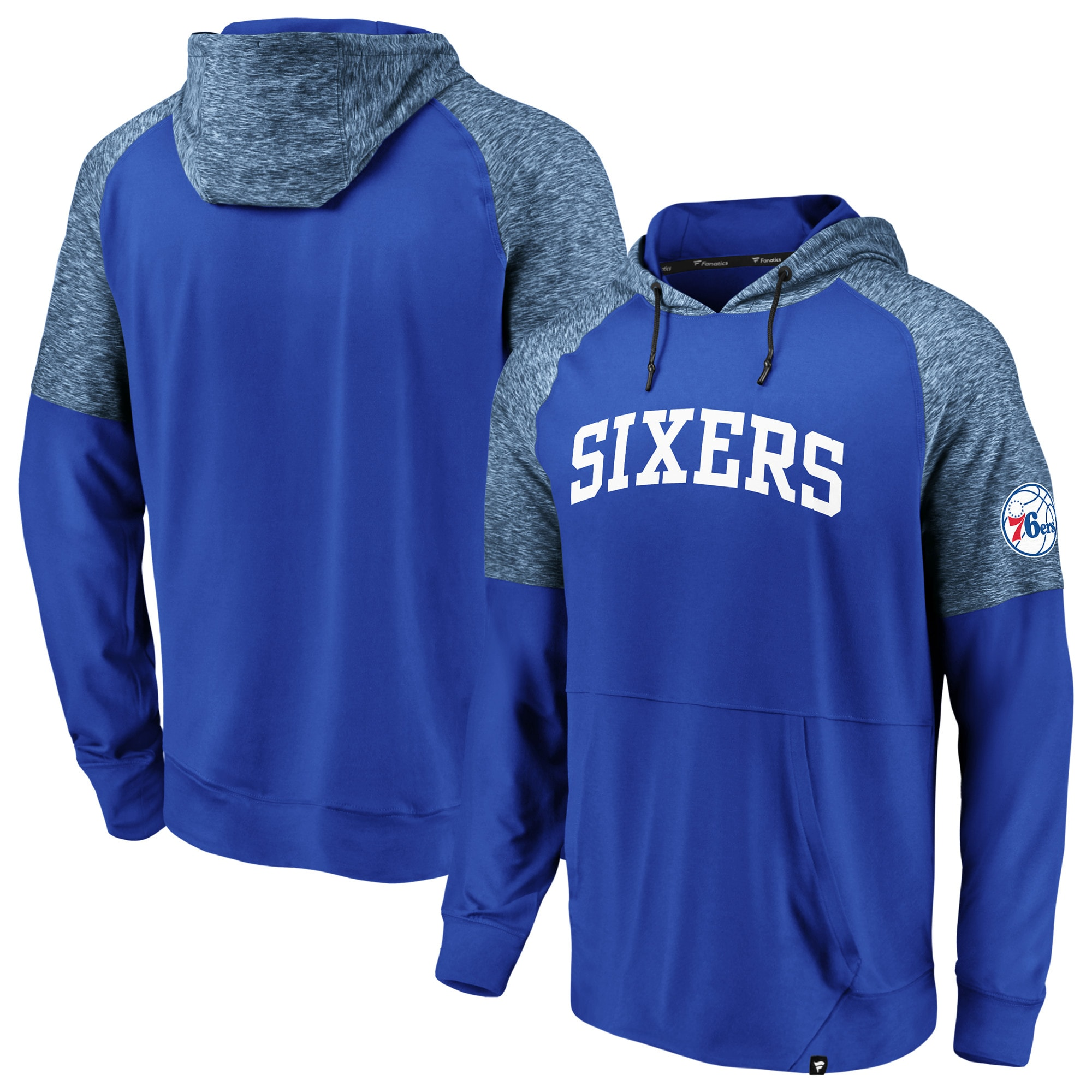 Philadelphia 76ers Fanatics Branded Made to Move Static Performance Raglan Pullover Hoodie - Royal
