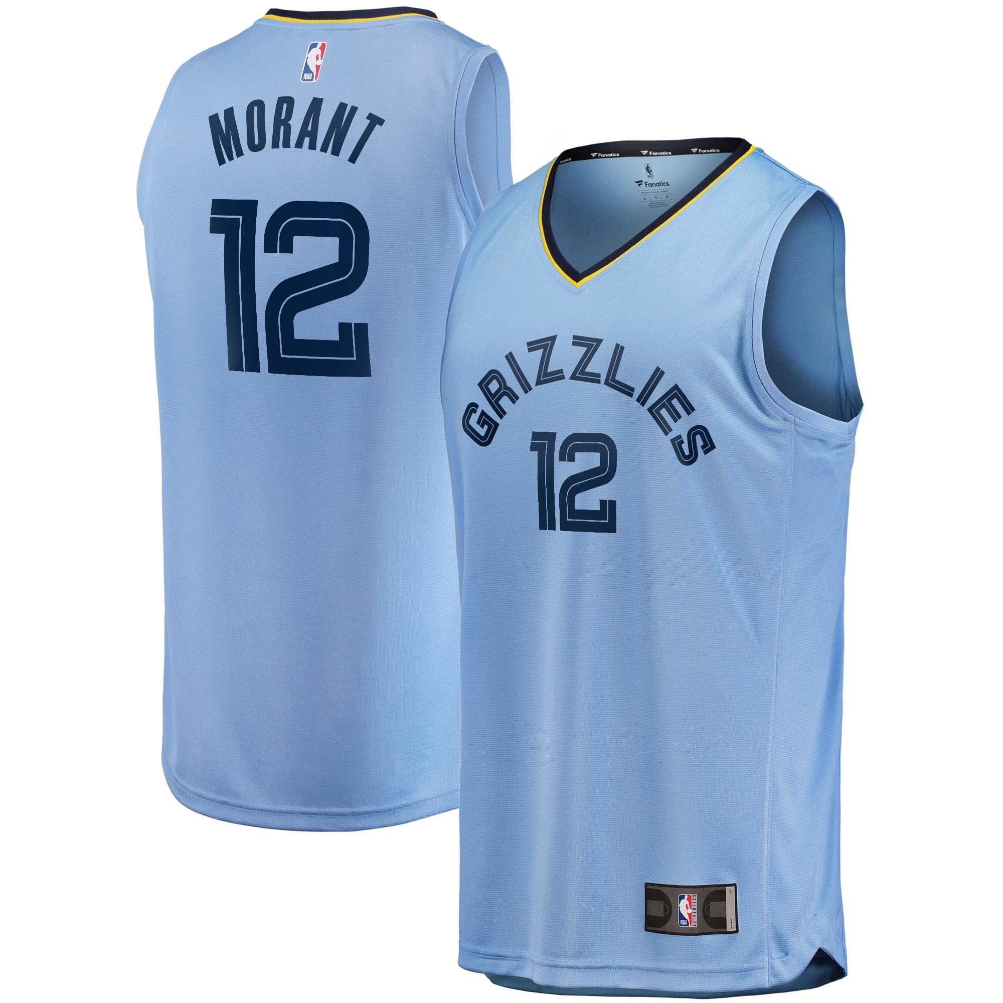 Ja Morant Memphis Grizzlies Fanatics Branded Youth Fast Break Player Replica Jersey - Statement Edition - Light Blue