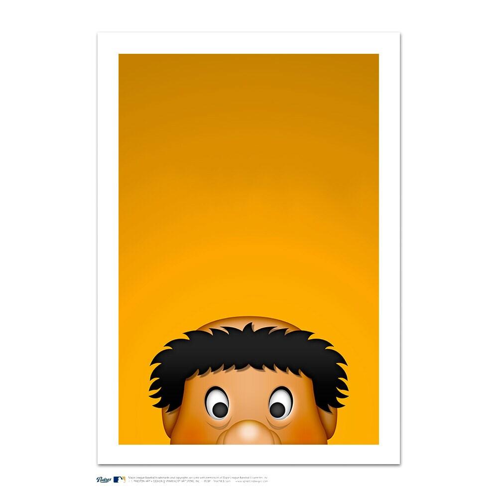 "San Diego Padres Swinging Friar 24"" x 32"" Minimalist Mascot Art Giclee"