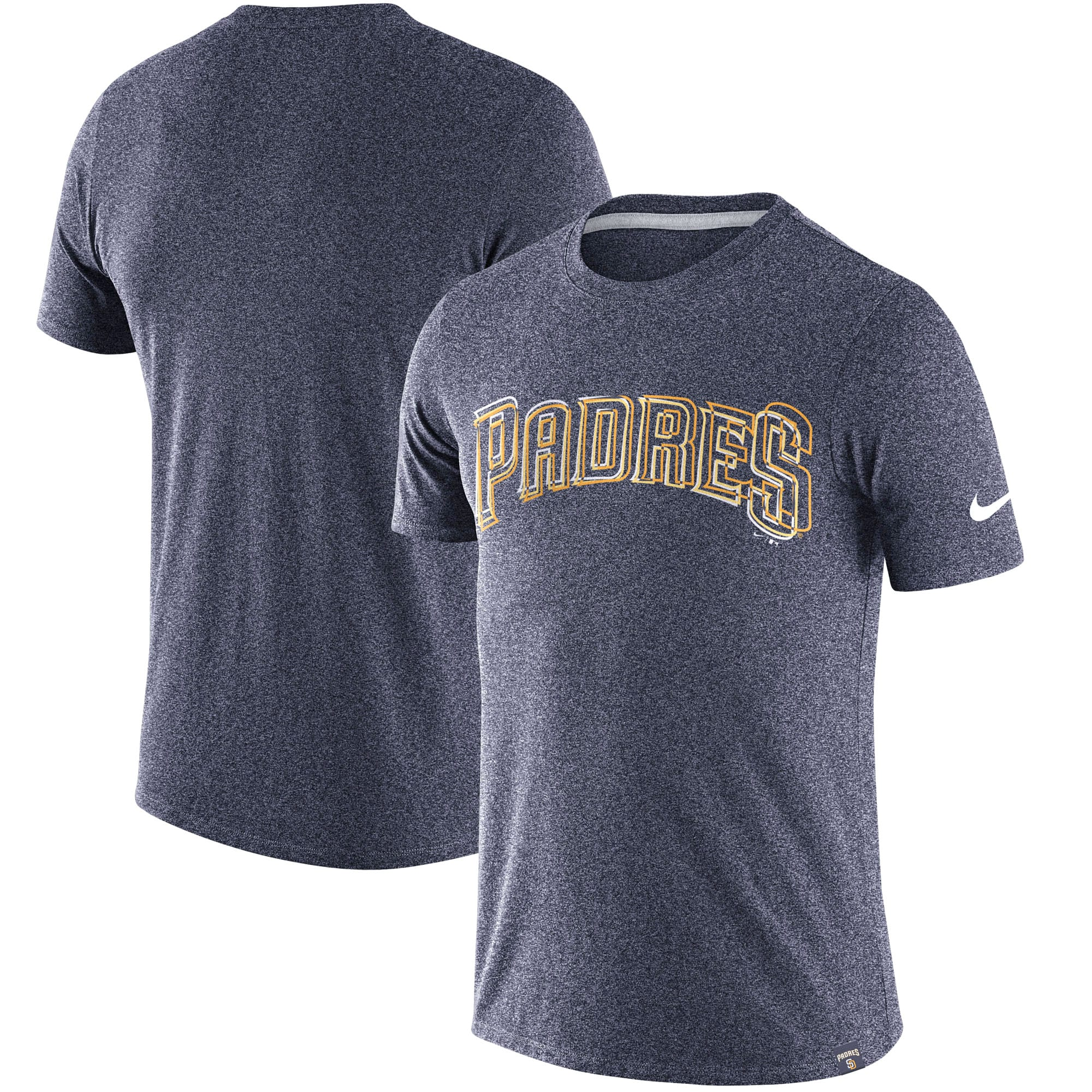 San Diego Padres Nike Marled Wordmark T-Shirt - Heathered Navy
