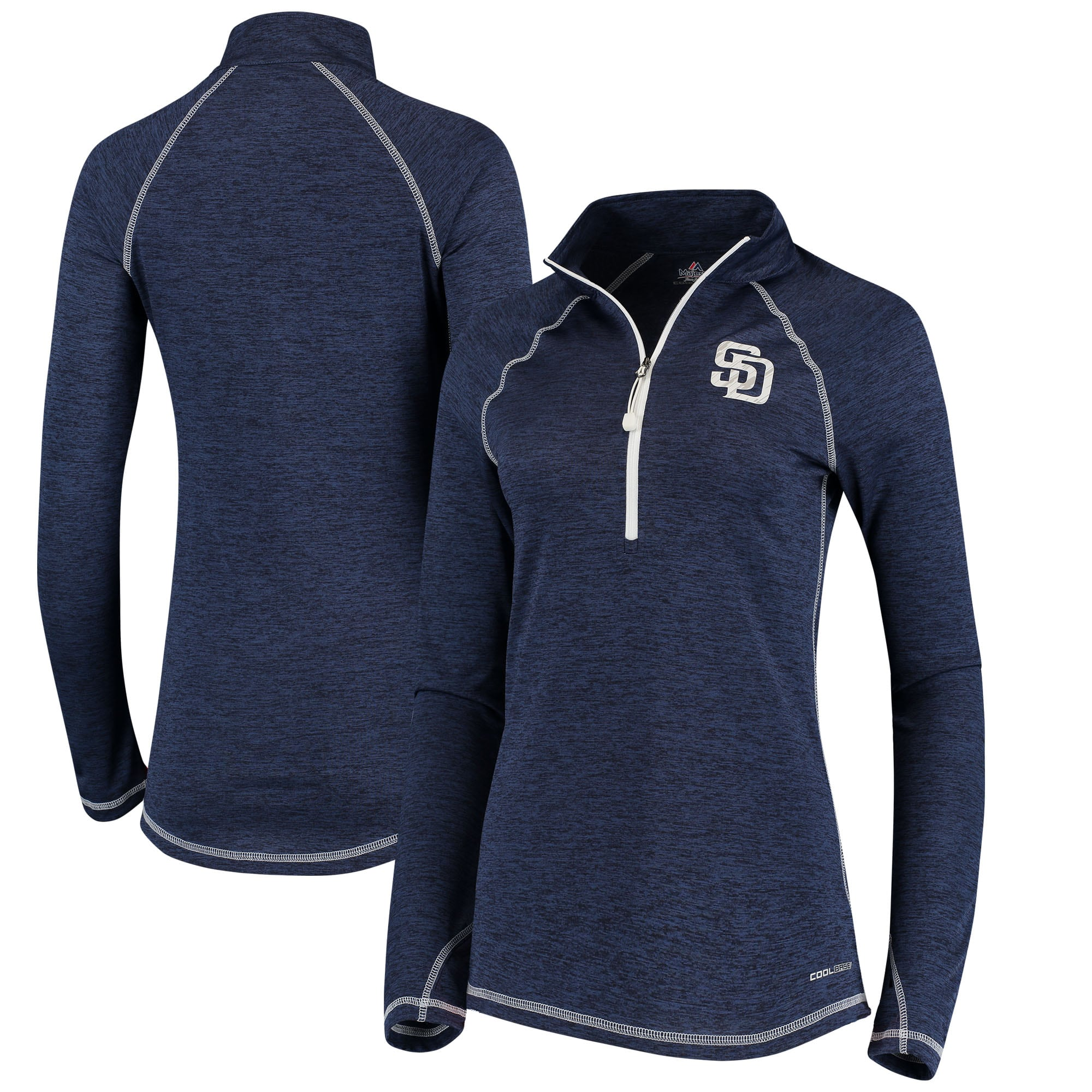 San Diego Padres Majestic Women's Don't Stop Trying Cool Base Half-Zip Pullover Jacket - Navy