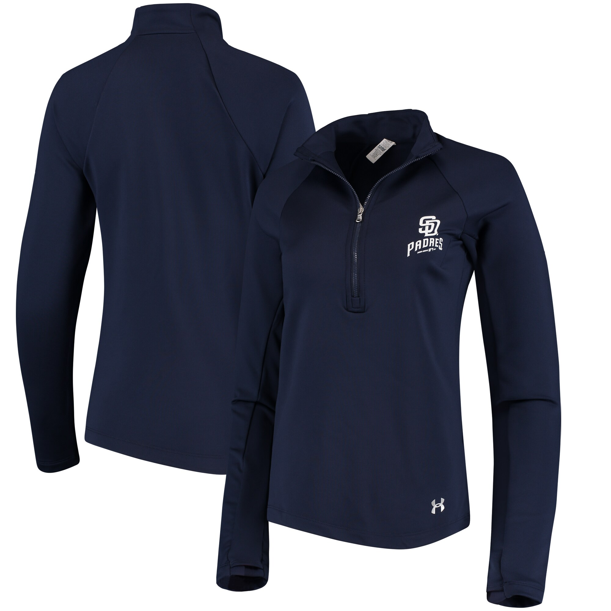 San Diego Padres Under Armour Women's Team Logo Half-Zip Performance Jacket - Navy