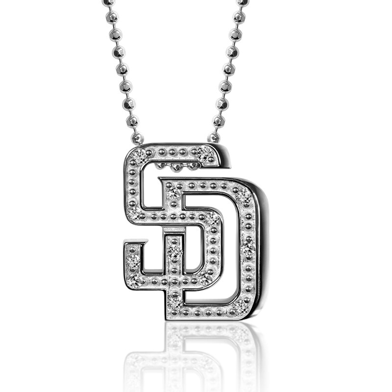San Diego Padres Alex Woo Women's Little Logo 14kt White Gold & Diamond Necklace