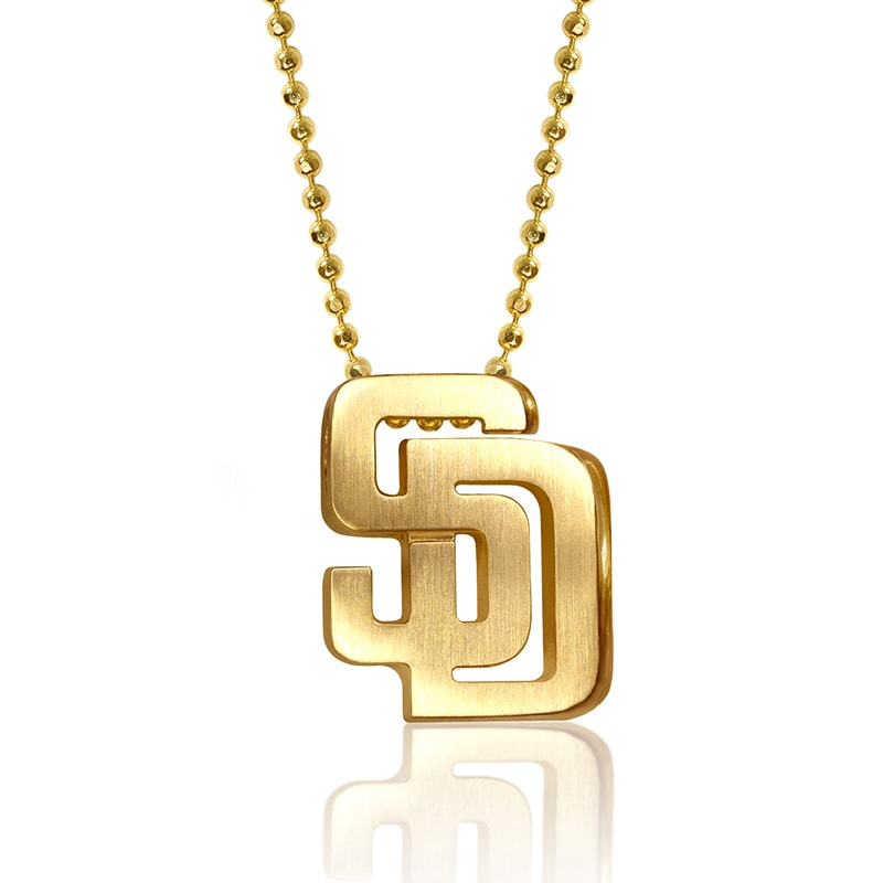 "San Diego Padres Alex Woo Women's 16"" Little Logo 14k Yellow Gold Necklace"