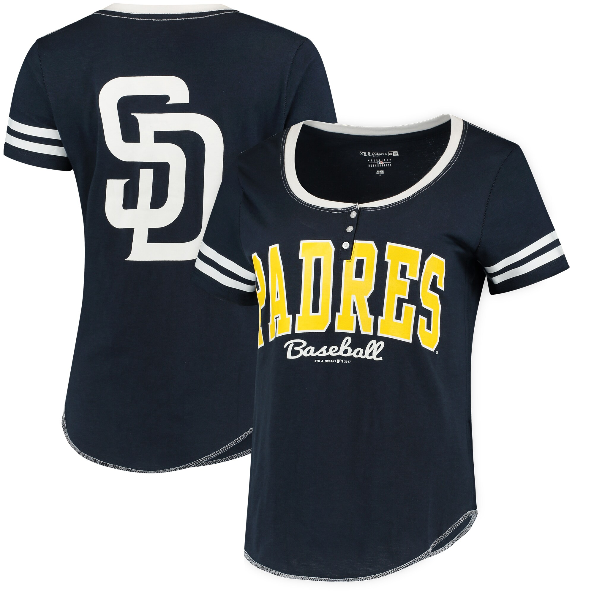 San Diego Padres 5th & Ocean by New Era Women's Slub Henley T-Shirt - Navy/White