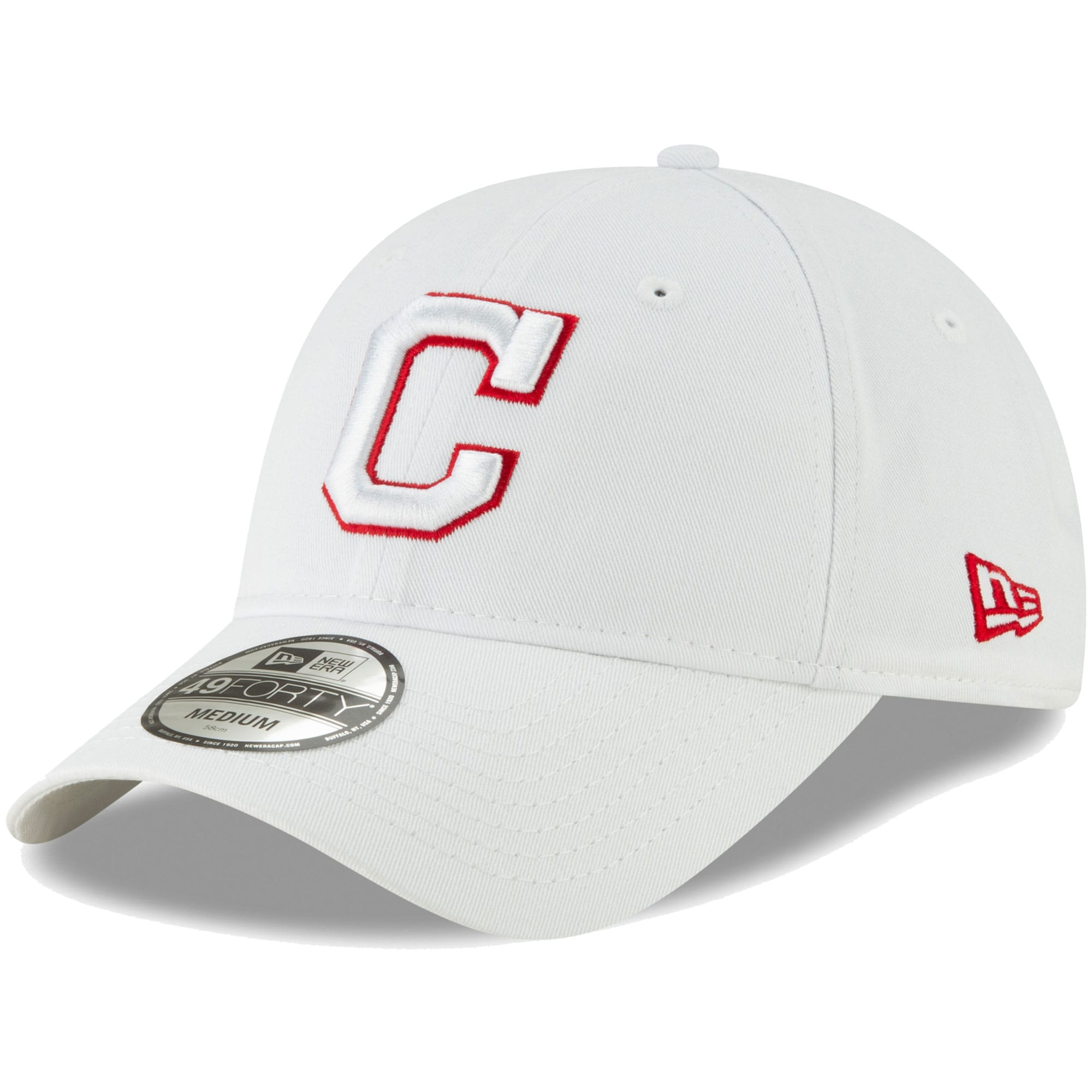 Cleveland Indians New Era Core Pop 49FORTY Fitted Hat - White