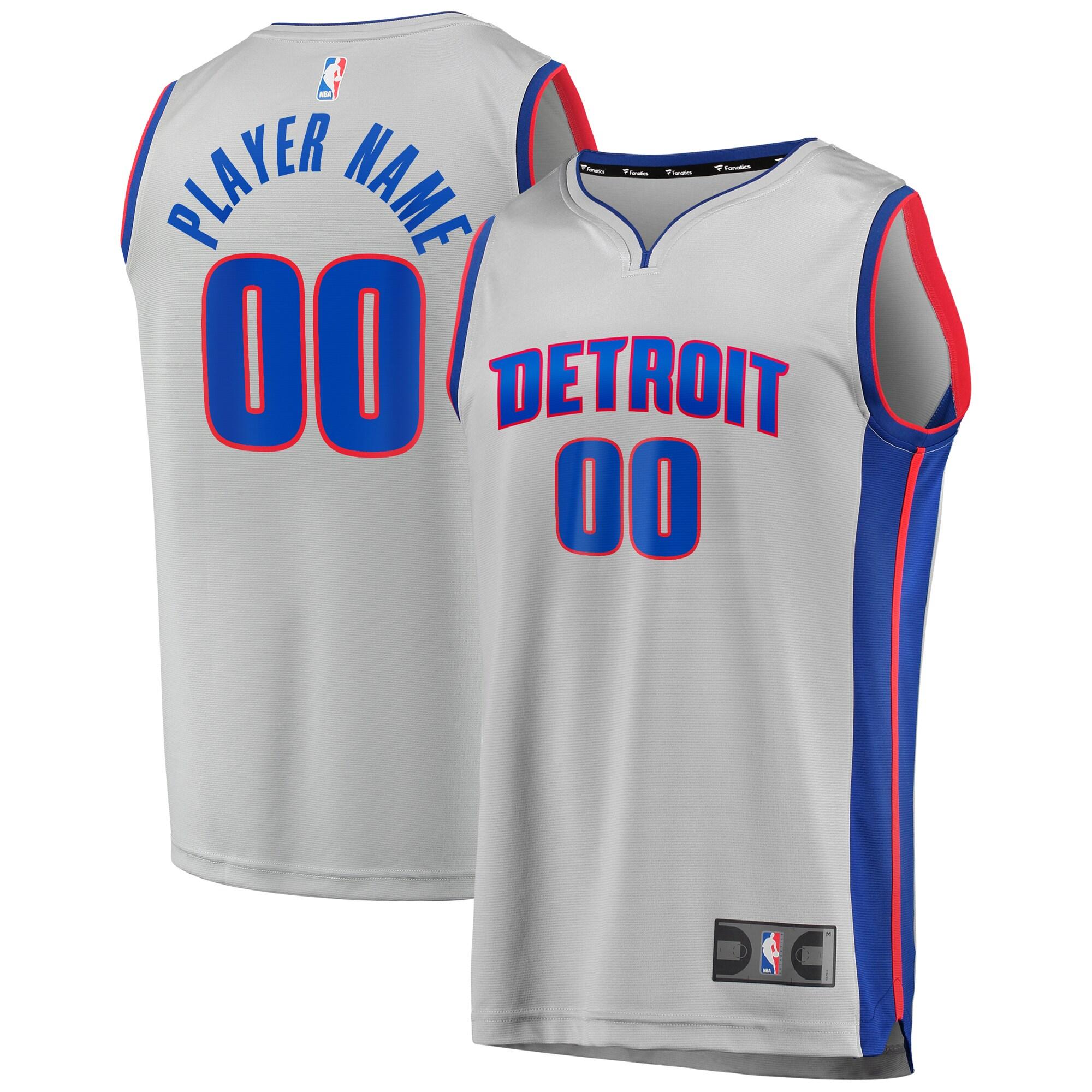Detroit Pistons Fanatics Branded Fast Break Custom Replica Jersey Gray - Statement Edition