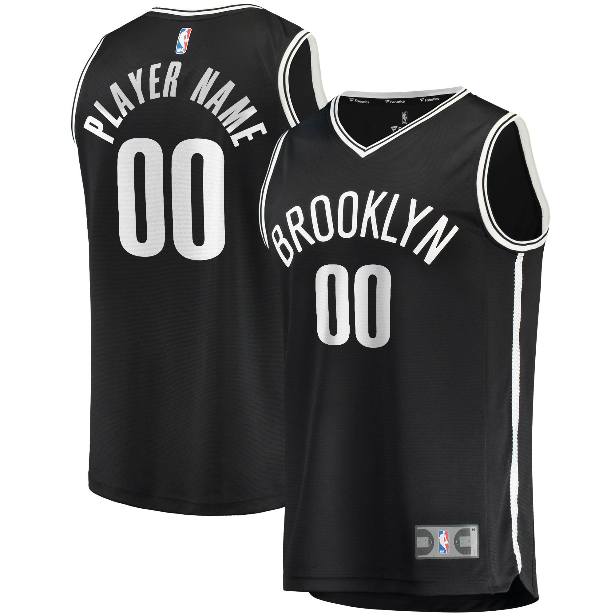 Brooklyn Nets Fanatics Branded Fast Break Custom Replica Jersey Black - Icon Edition