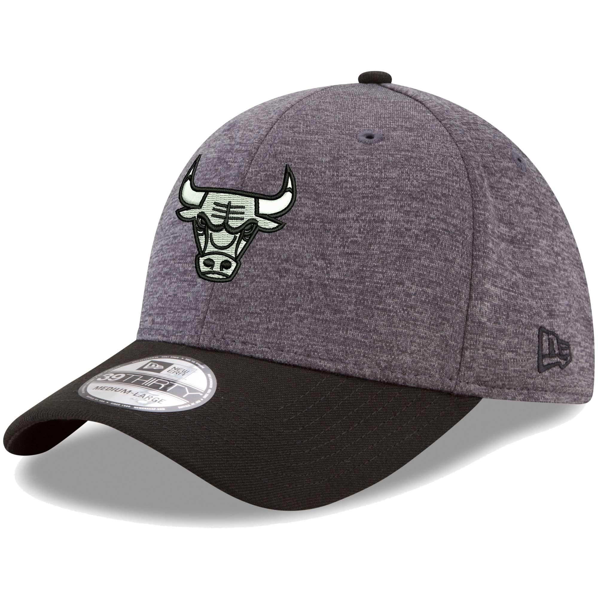 Chicago Bulls New Era 39THIRTY Flex Hat - Heathered Gray/Black