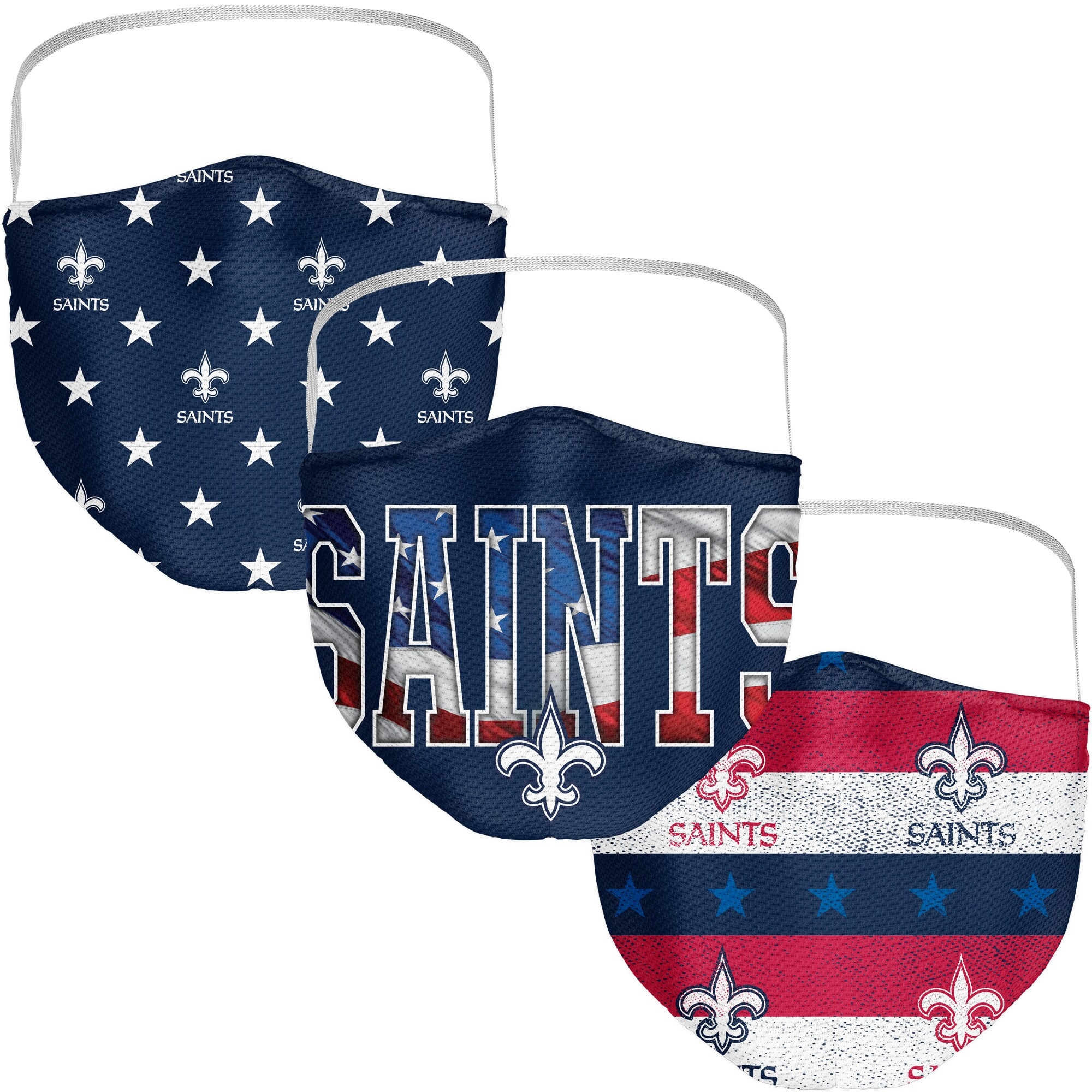 New Orleans Saints Fanatics Branded Adult Patriotic Face Covering 3-Pack