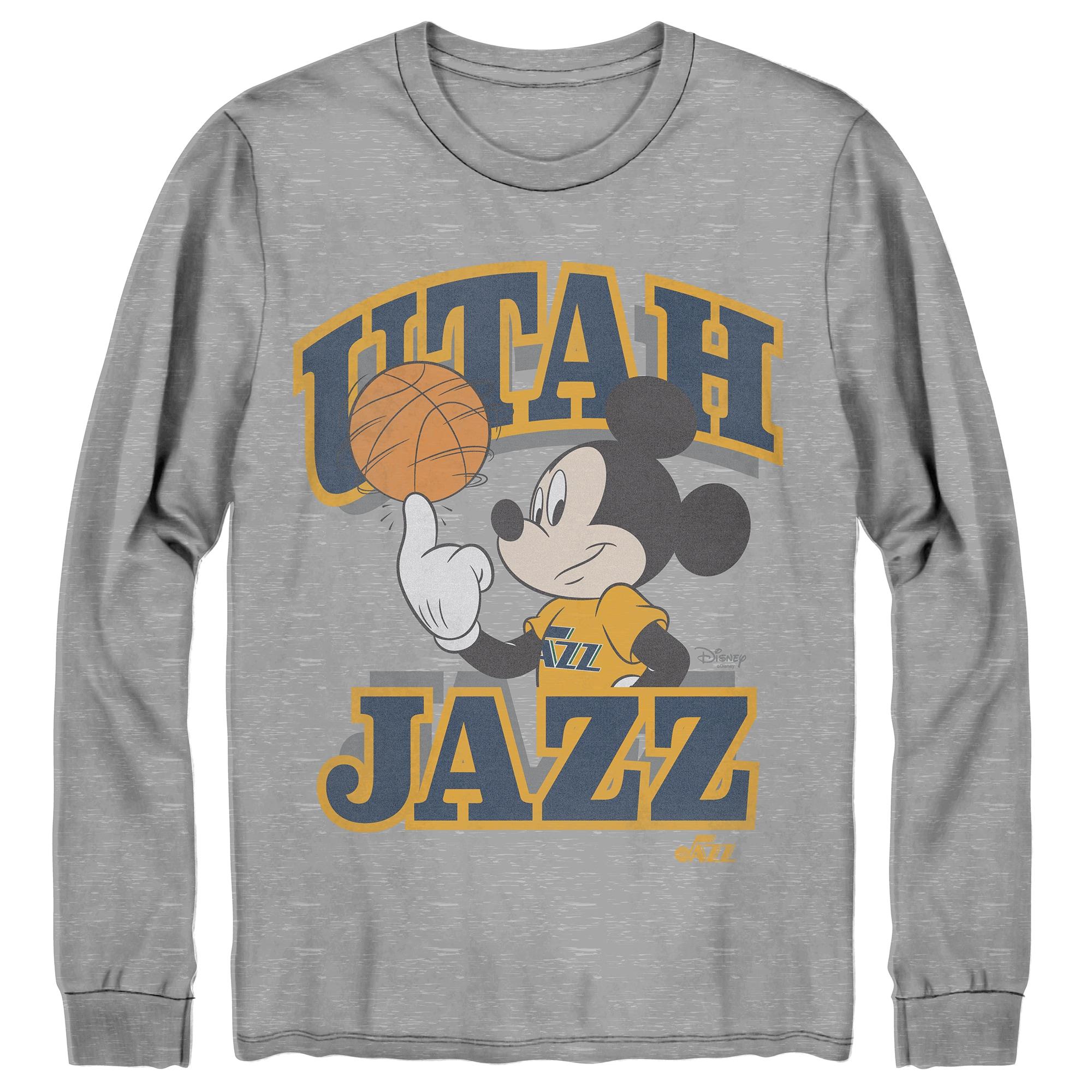 Utah Jazz Junk Food Disney Mickey Team Spirit Long Sleeve T-Shirt - Gray