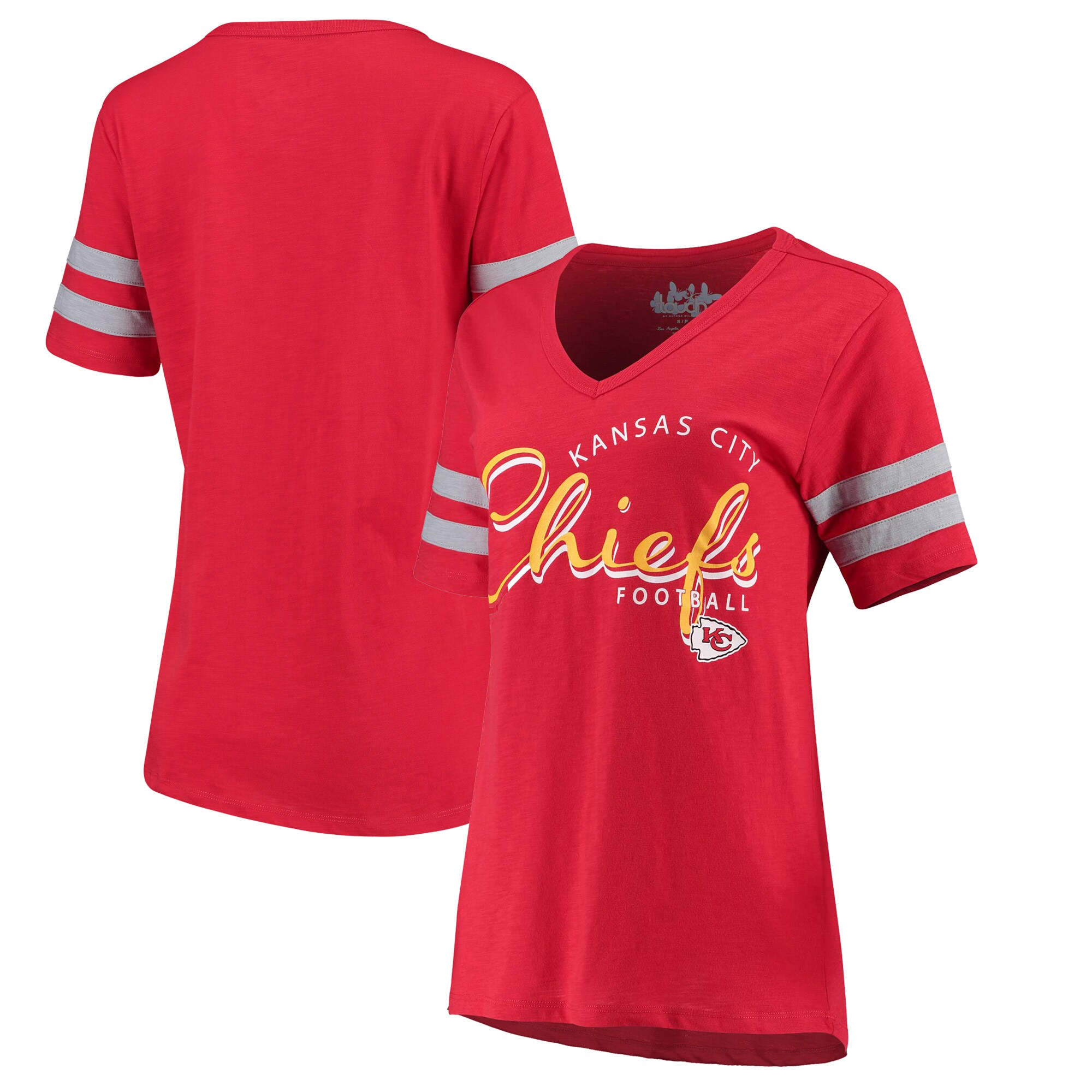 Kansas City Chiefs Touch by Alyssa Milano Women's Triple Play V-Neck T-Shirt - Red