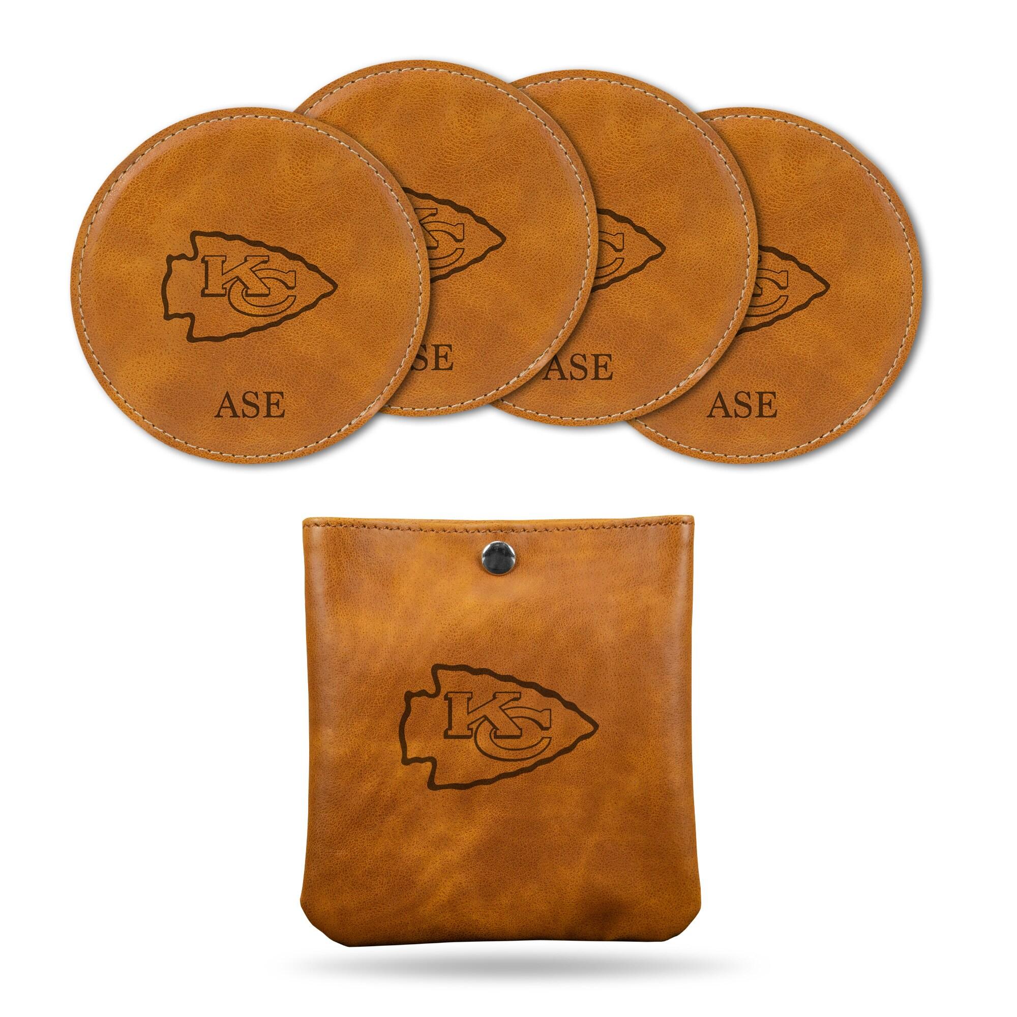 Kansas City Chiefs Sparo 4-Pack Personalized Coaster Set - Brown