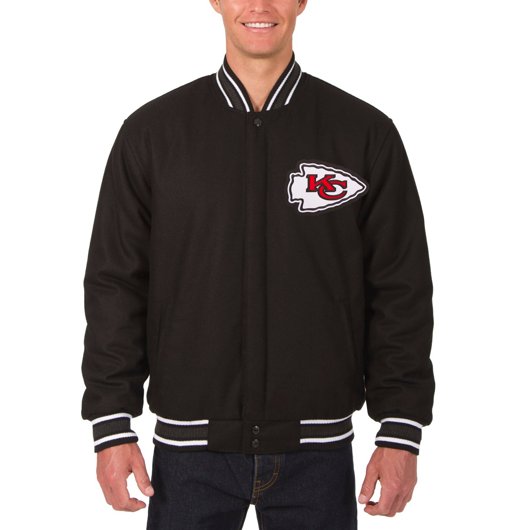 Kansas City Chiefs JH Design Wool Reversible Jacket with Embroidered Logos - Black