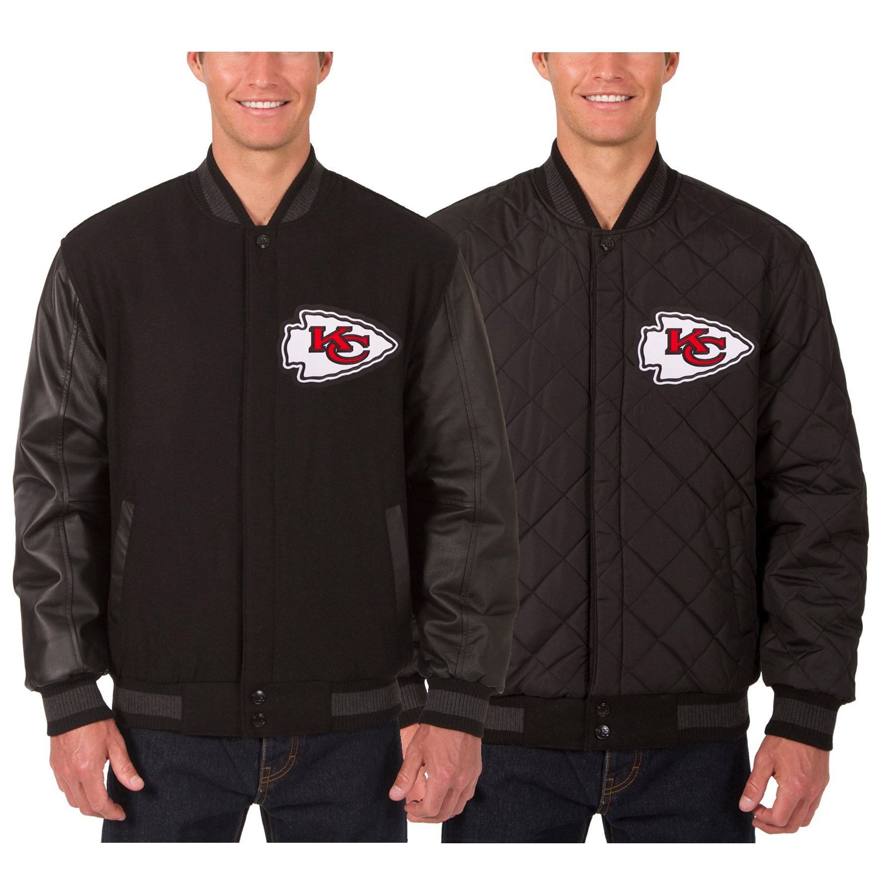 Kansas City Chiefs JH Design Wool & Leather Reversible Jacket with Embroidered Logos - Black