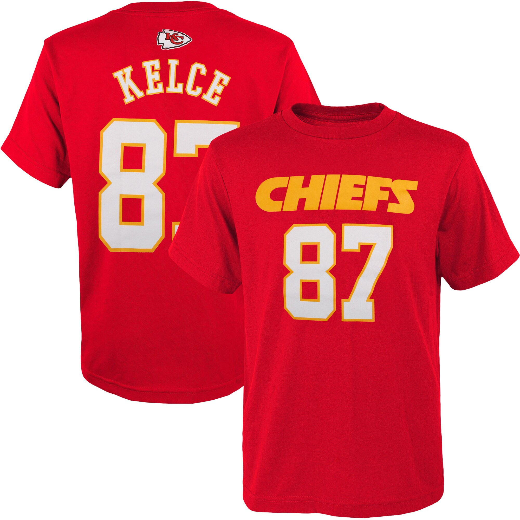 Travis Kelce Kansas City Chiefs Youth Mainliner Player Name & Number T-Shirt - Red
