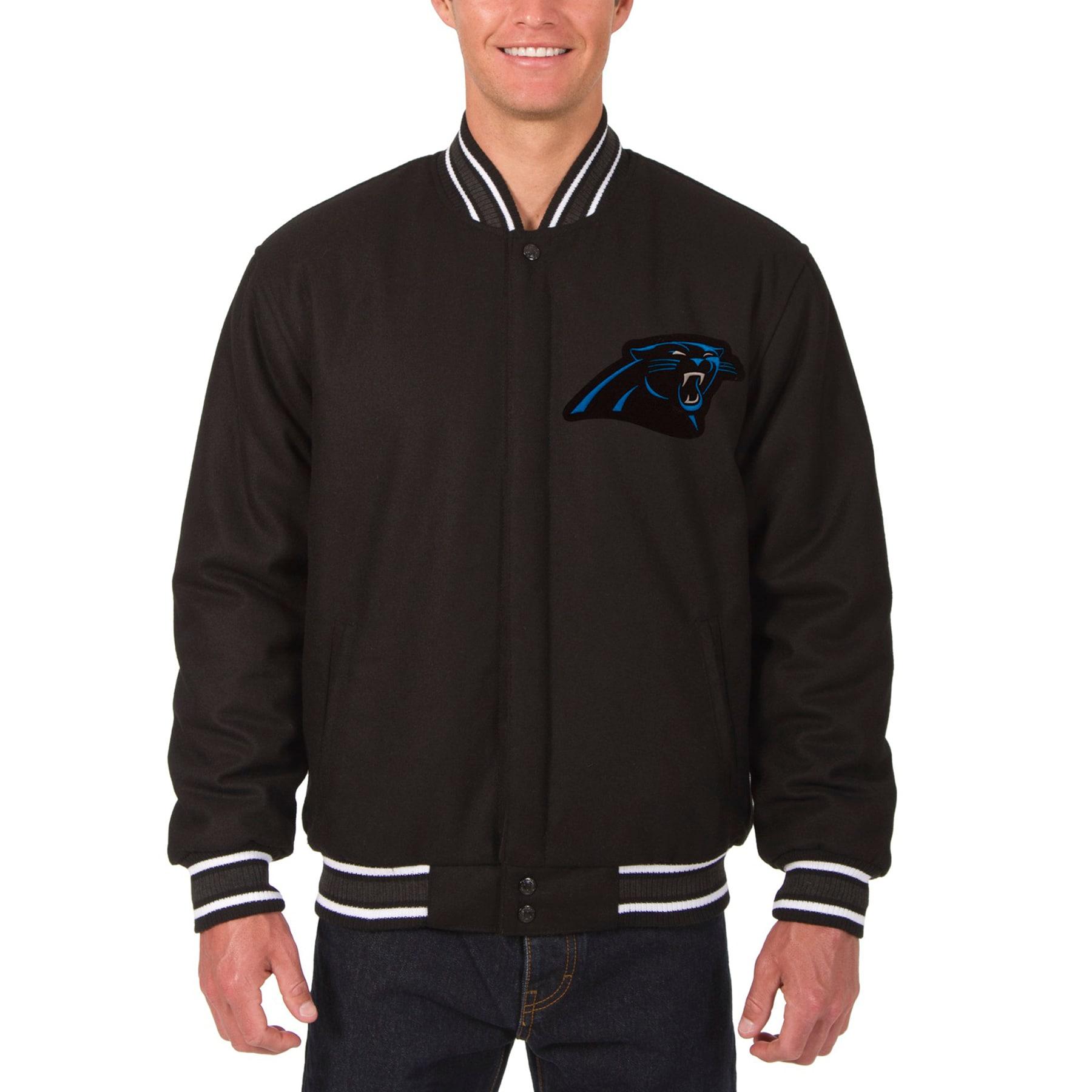 Carolina Panthers JH Design Wool Reversible Jacket with Embroidered Logos - Black
