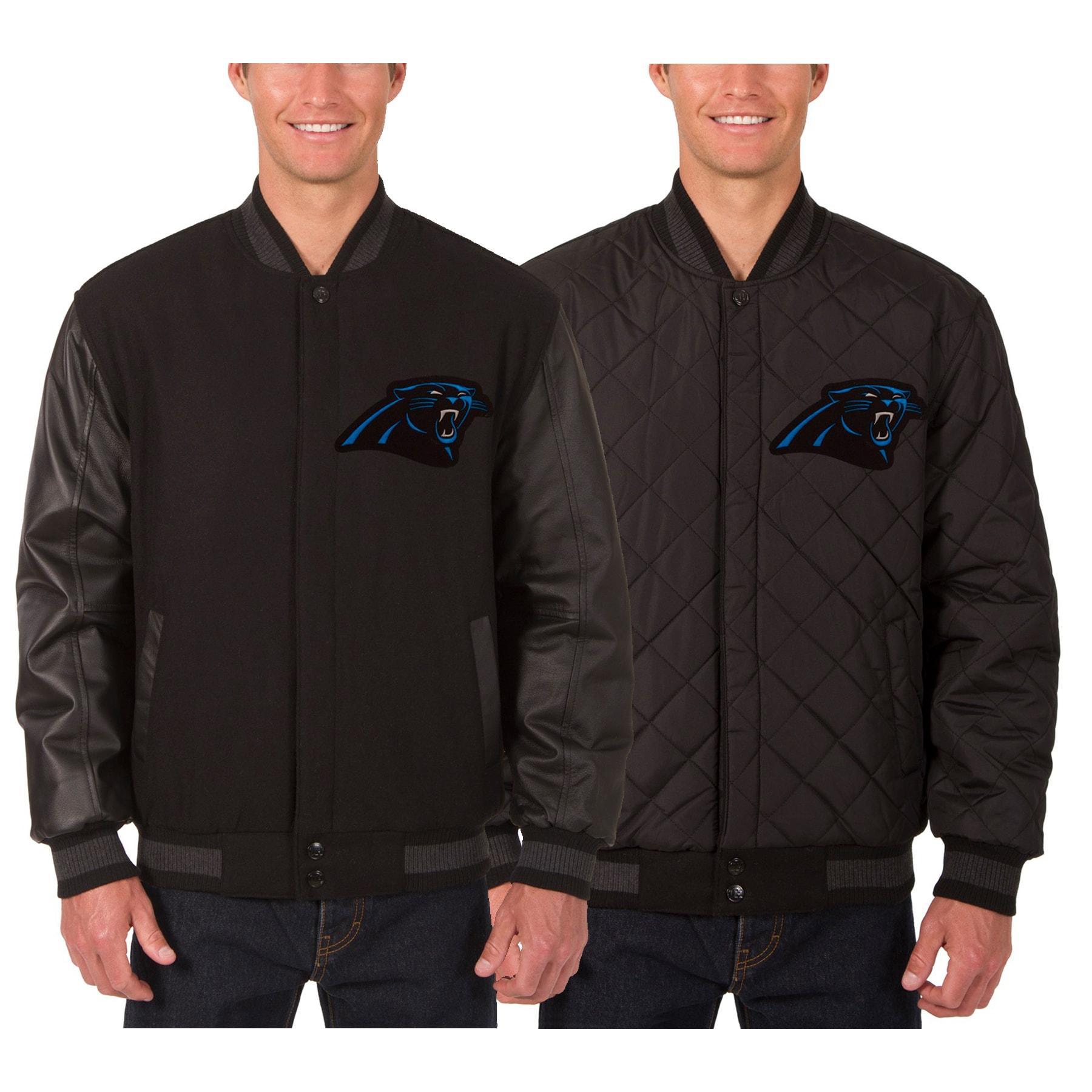 Carolina Panthers JH Design Wool & Leather Reversible Jacket with Embroidered Logos - Black