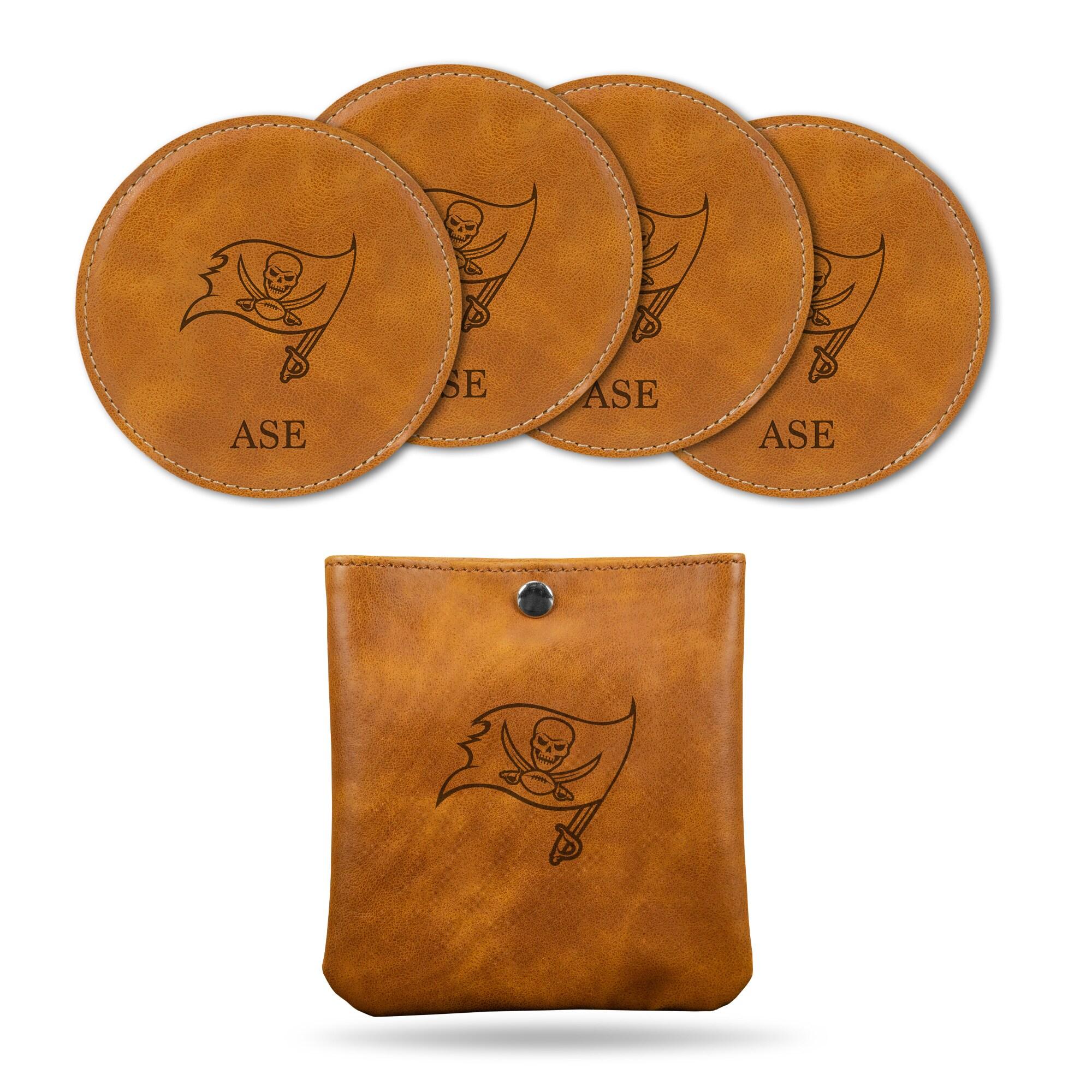 Tampa Bay Buccaneers Sparo 4-Pack Personalized Coaster Set - Brown