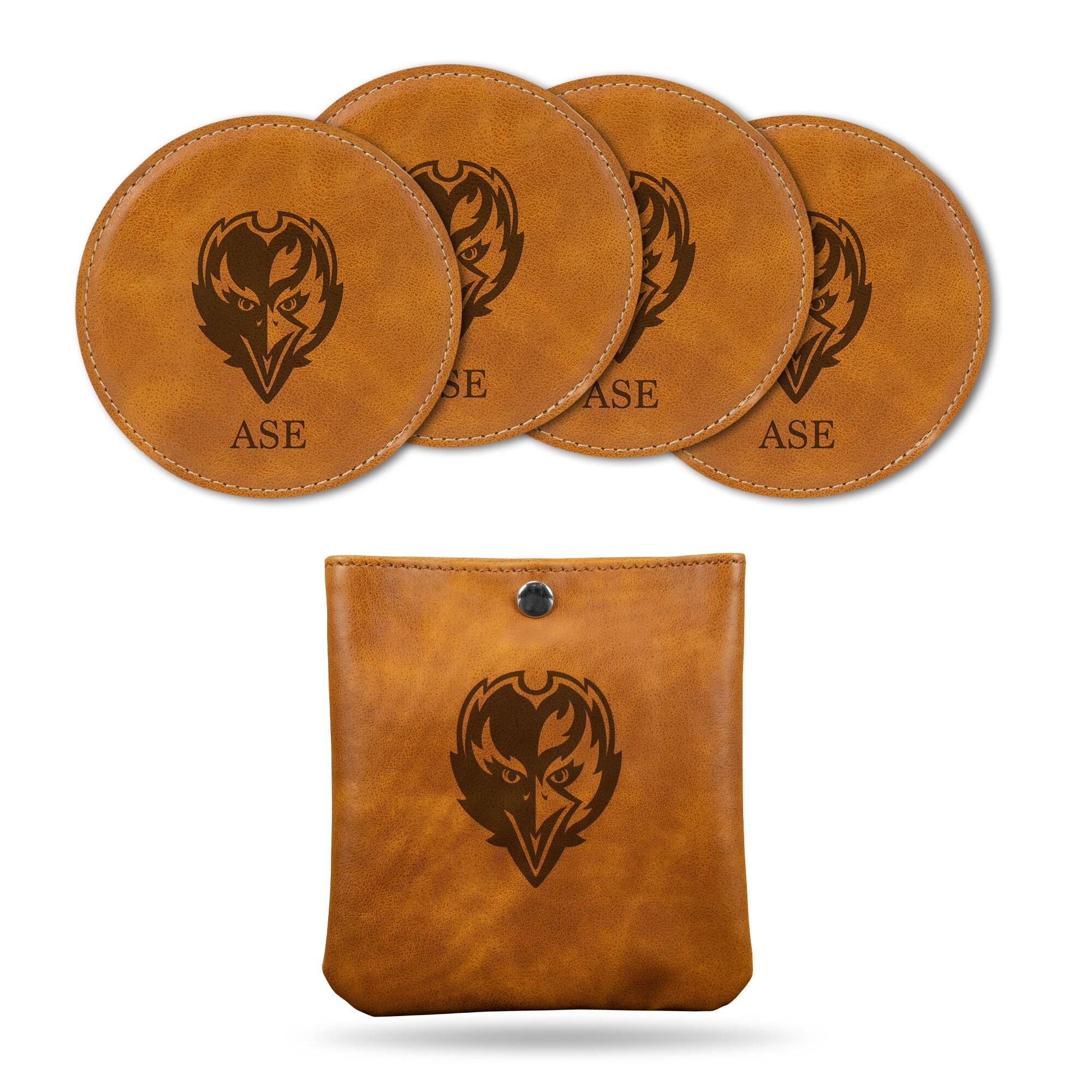Baltimore Ravens Sparo 4-Pack Personalized Coaster Set - Brown
