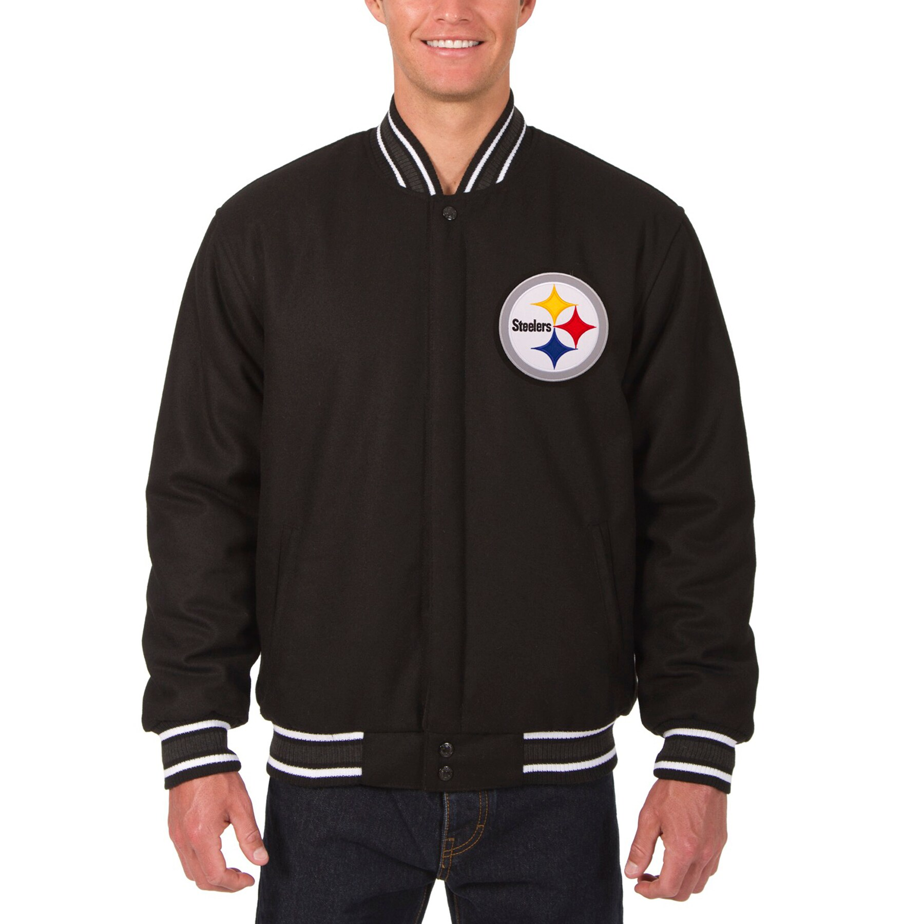 Pittsburgh Steelers JH Design Wool Reversible Jacket with Embroidered Logos - Black